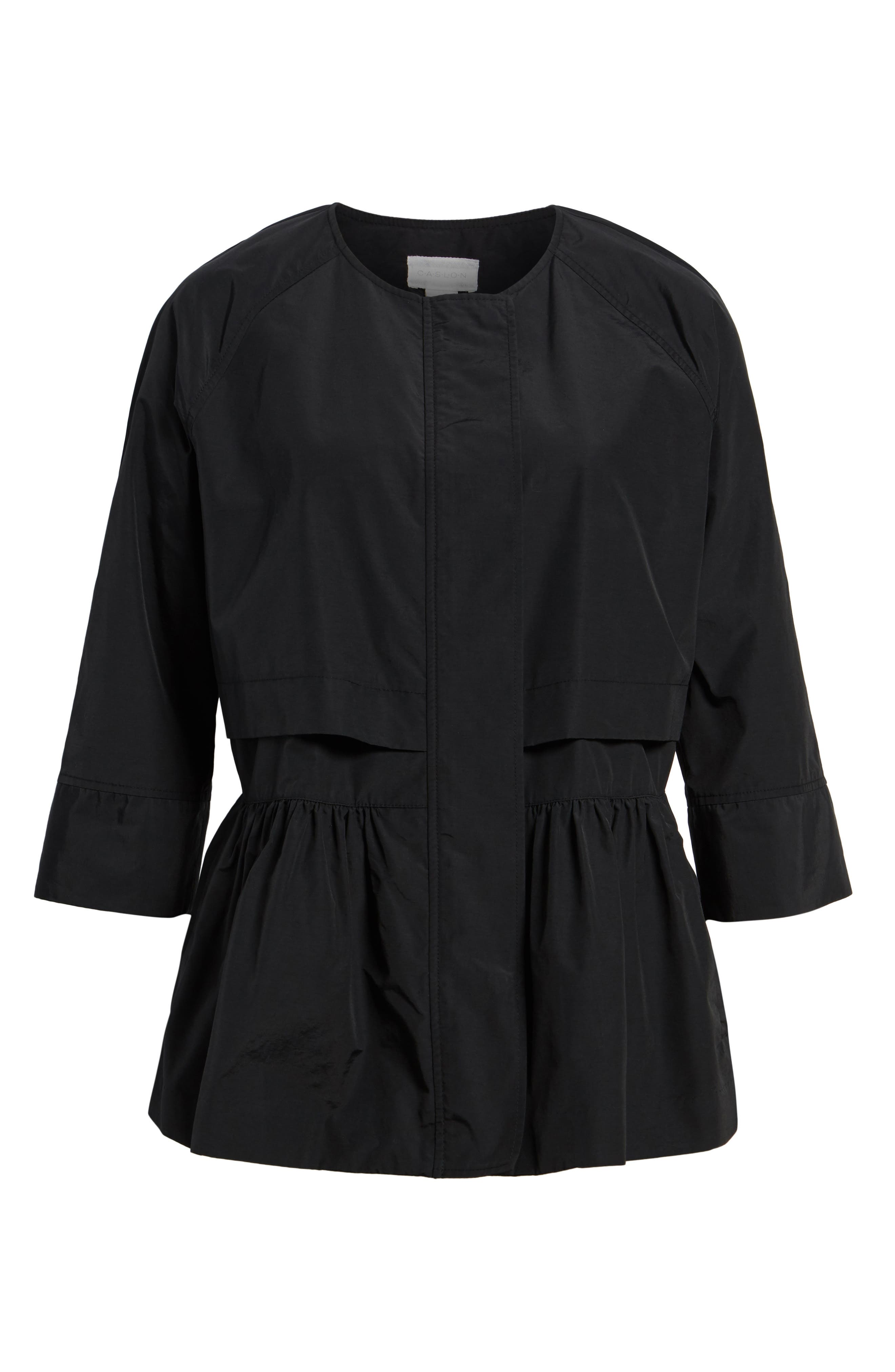 Peplum Cotton Blend Utility Jacket,                             Alternate thumbnail 7, color,                             Black