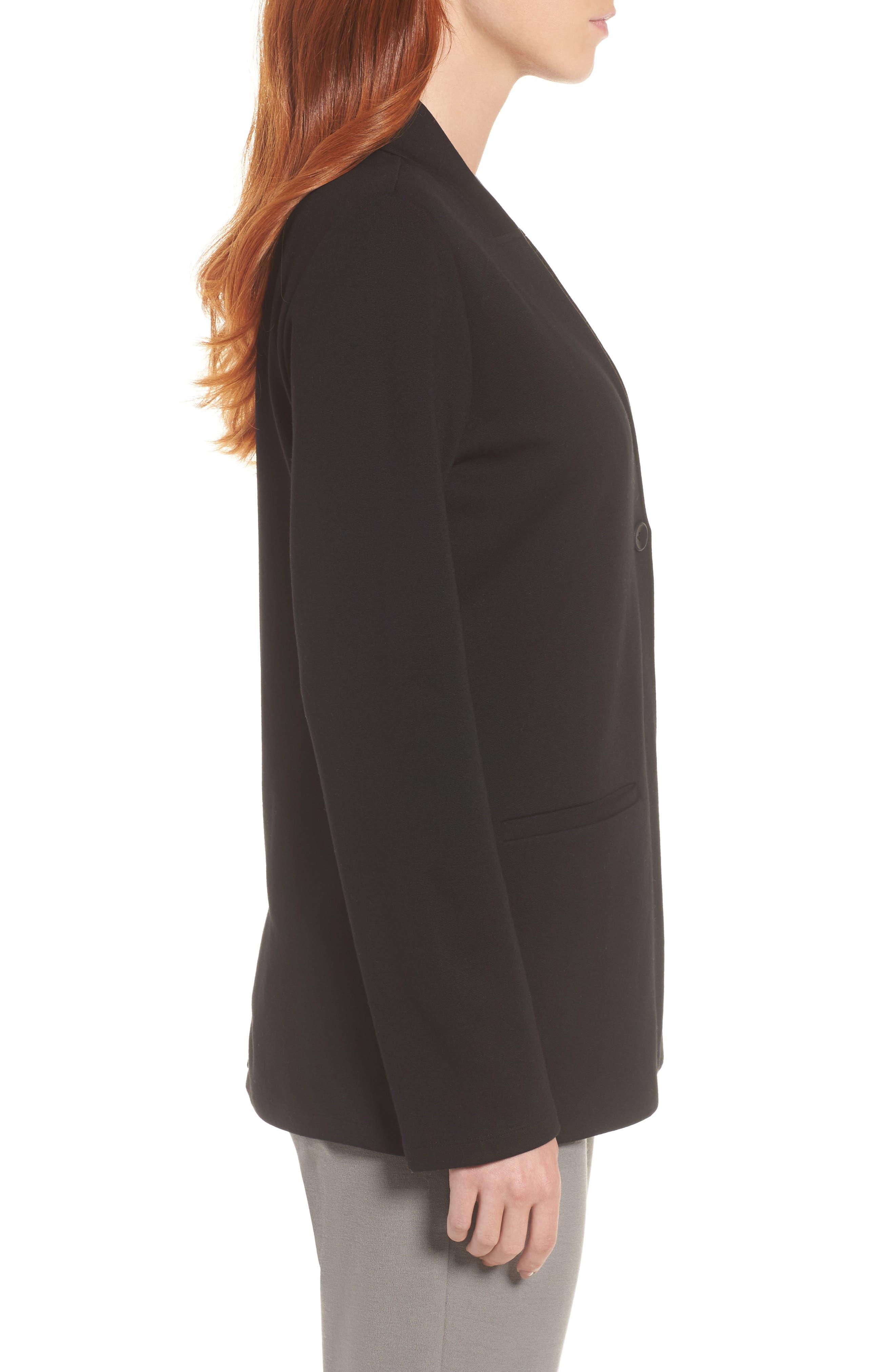 Tencel<sup>®</sup> Lyocell Blend Knit Blazer,                             Alternate thumbnail 3, color,                             Black