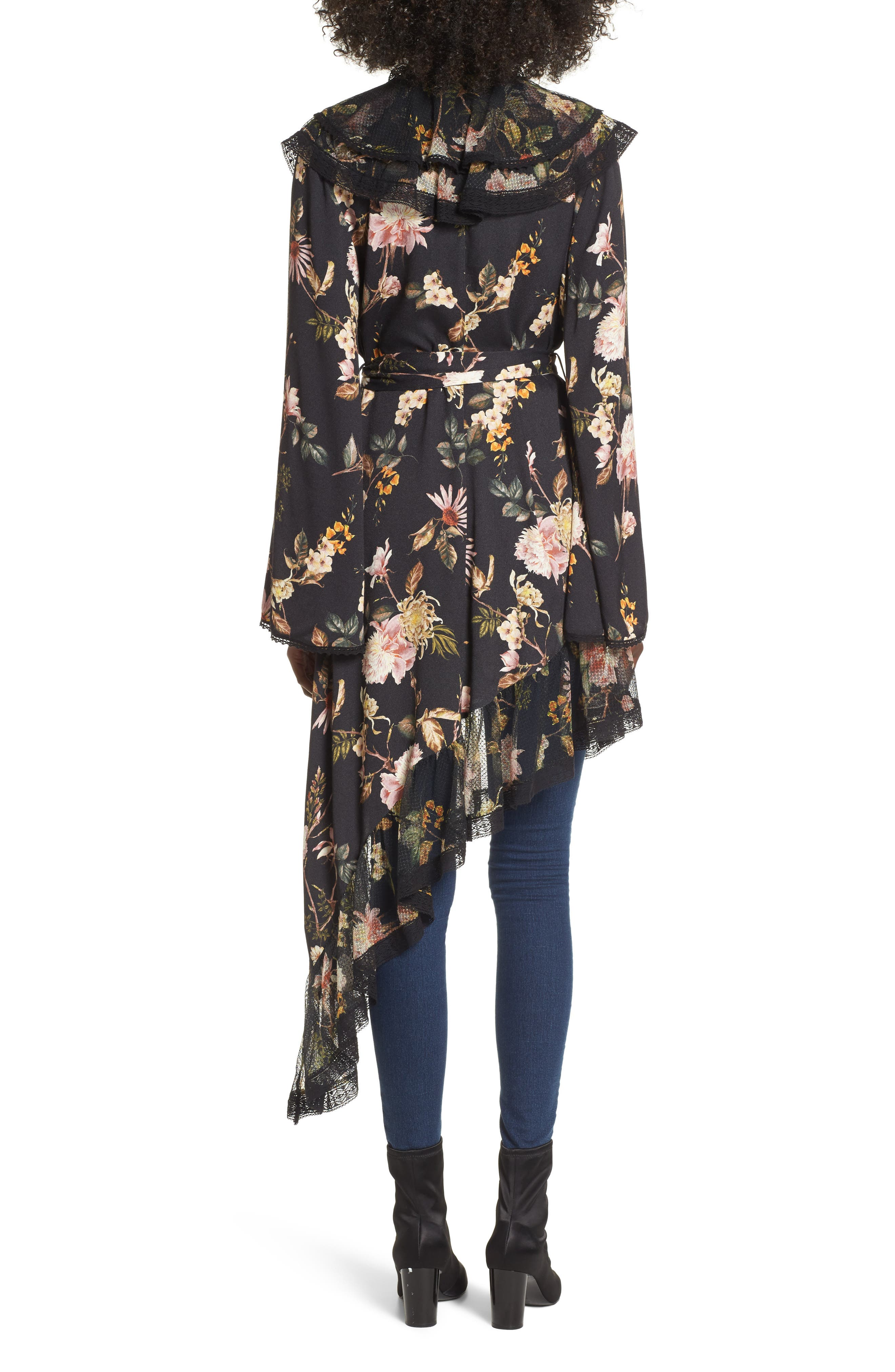 Ray Asymmetrical Midi Dress,                             Alternate thumbnail 3, color,                             Noir Floral