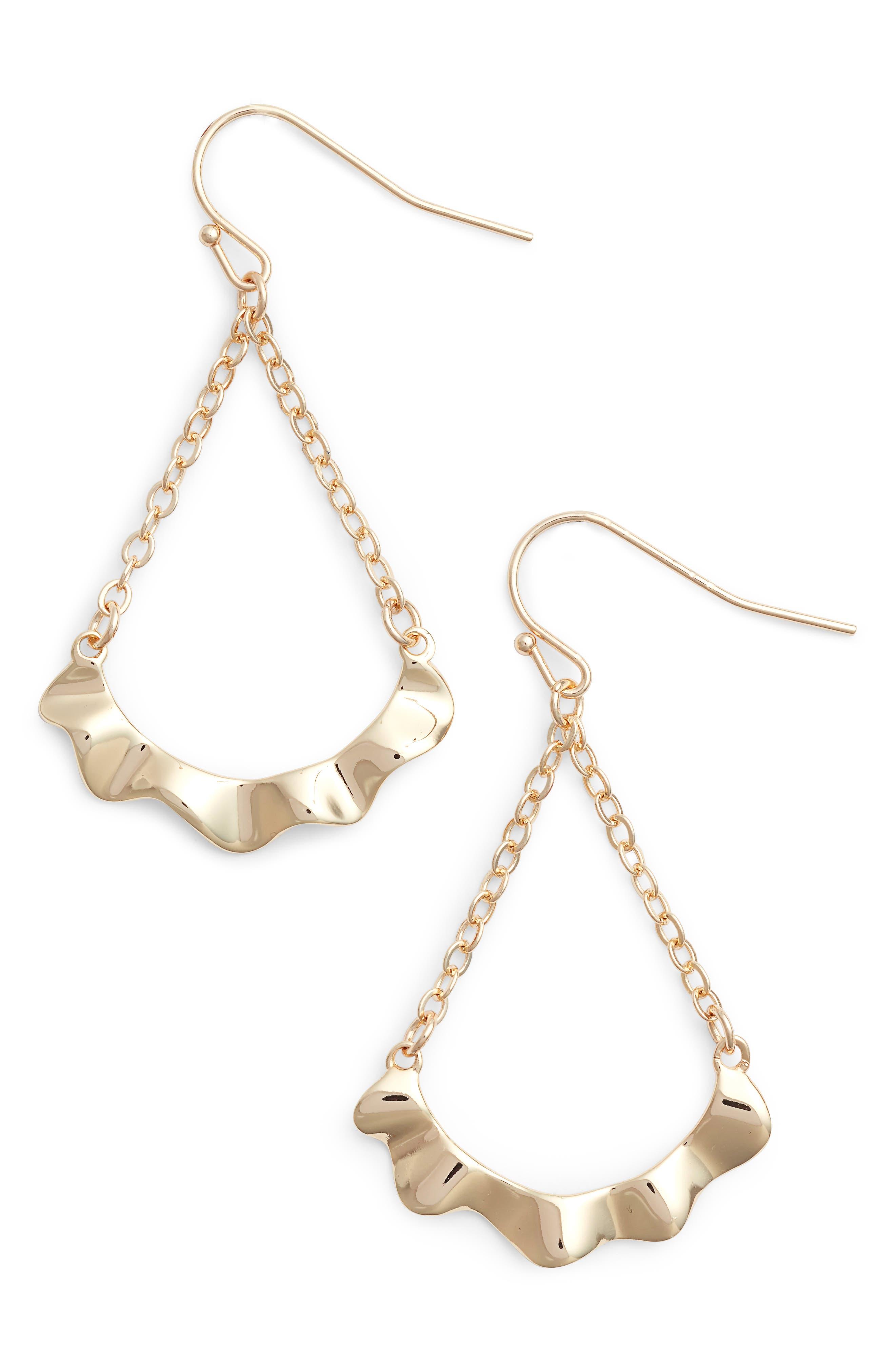 Waved Teardrop Earrings,                         Main,                         color, Gold