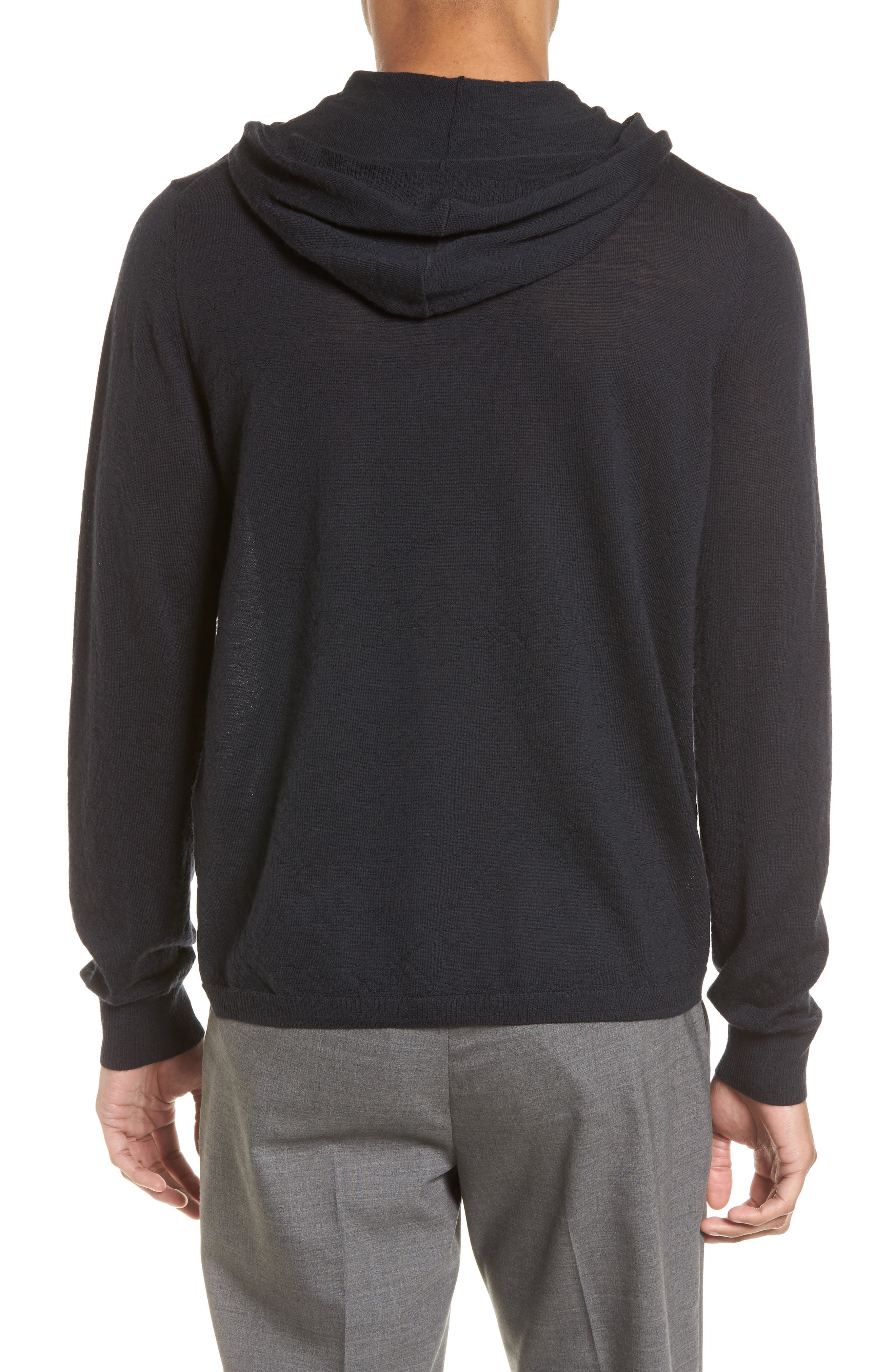 Regular Fit Wool Pullover Hoodie,                             Alternate thumbnail 2, color,                             Black