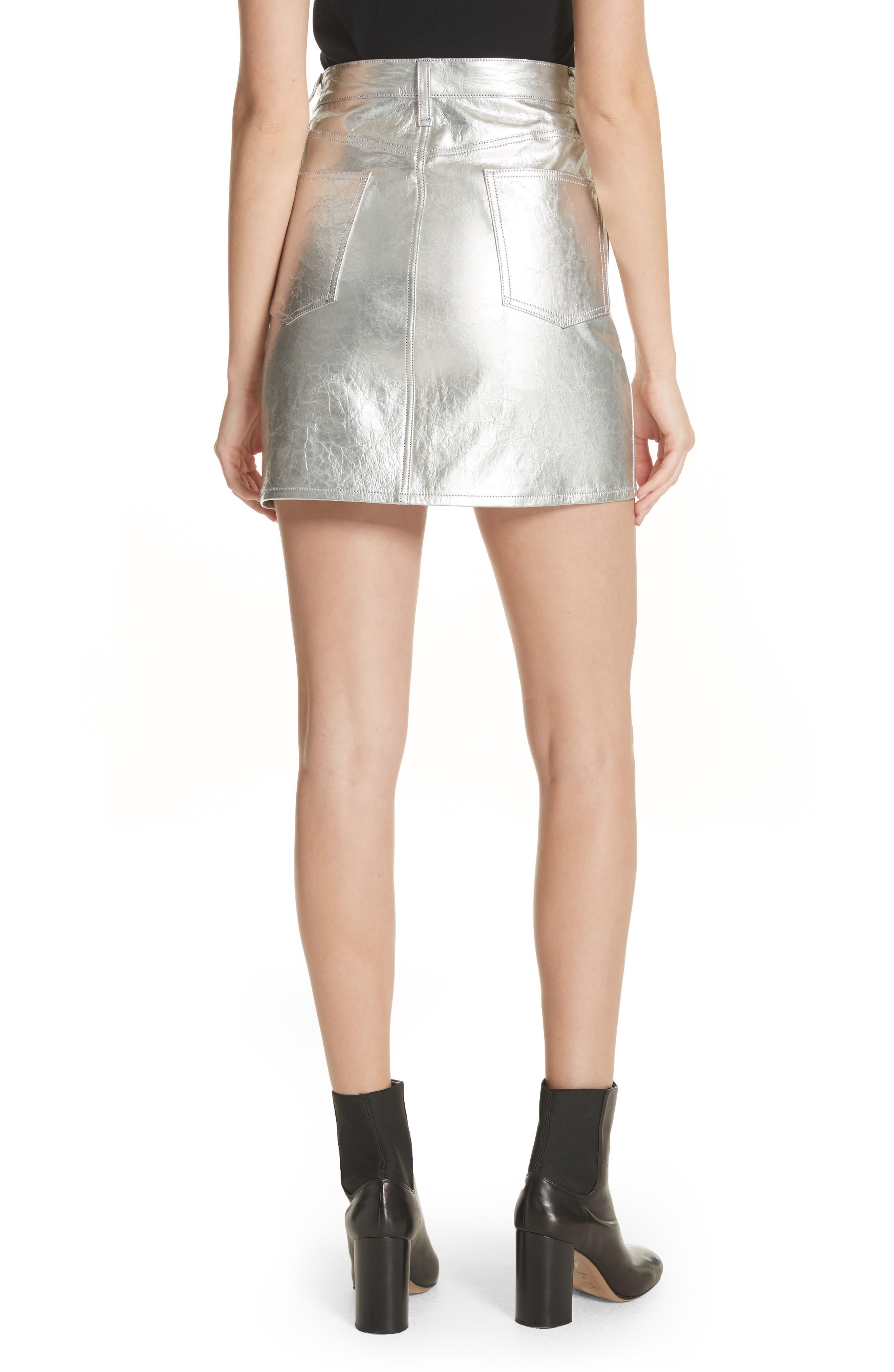 Moss High Waist Leather Miniskirt,                             Alternate thumbnail 2, color,                             Metallic