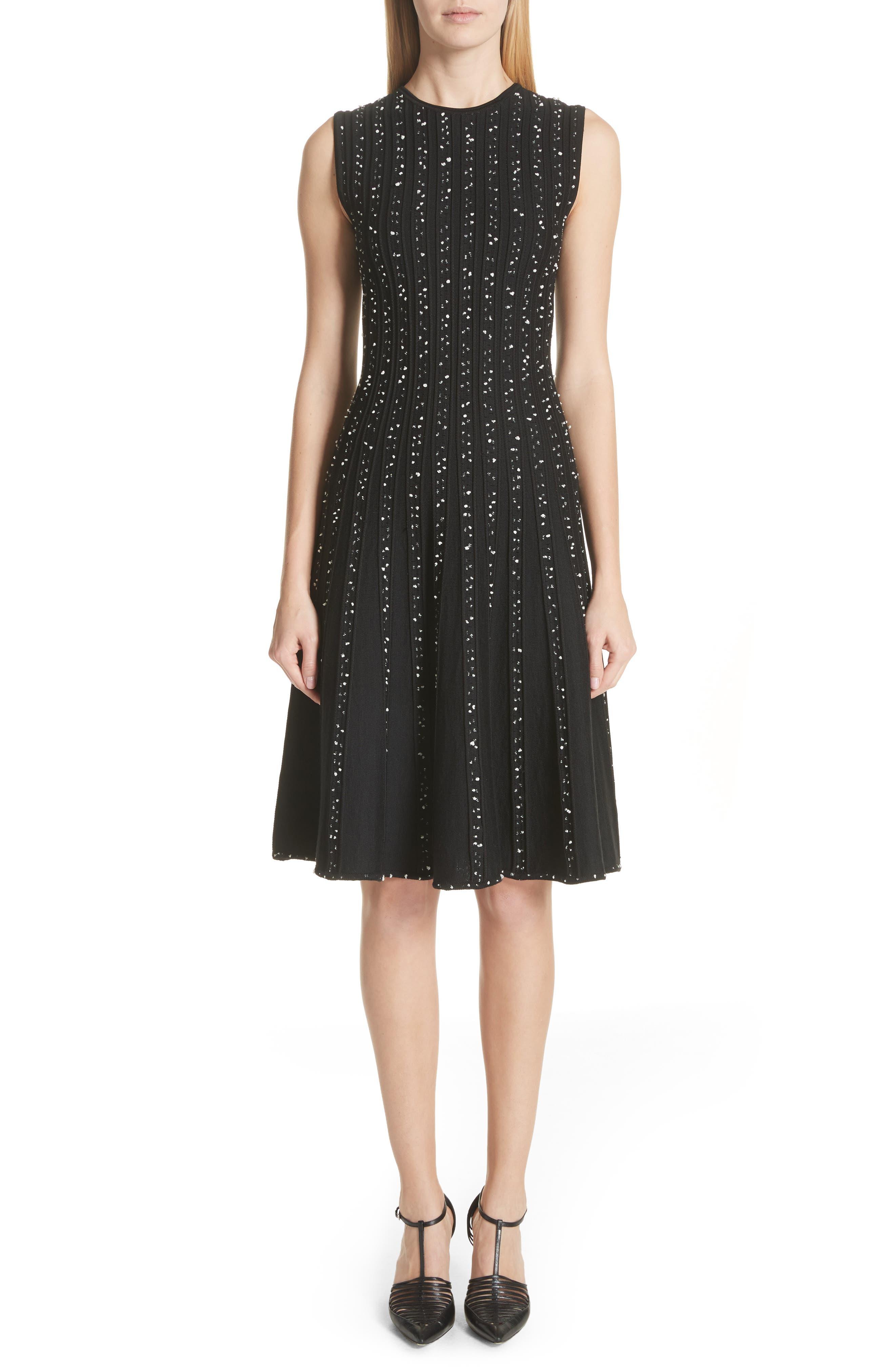 Polka Dot Wool Blend Fit & Flare Dress,                         Main,                         color, Black/ Chalk
