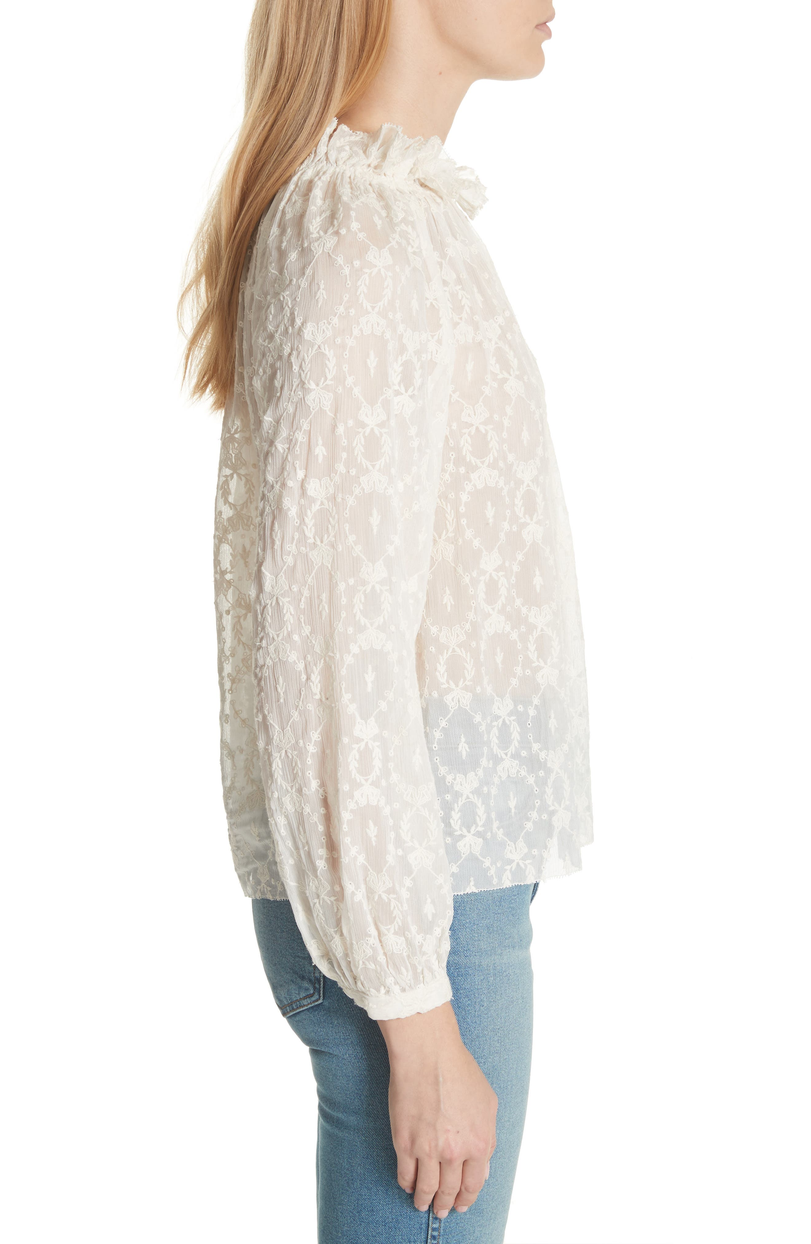 Lily Embroidered Silk Top,                             Alternate thumbnail 3, color,                             Snow