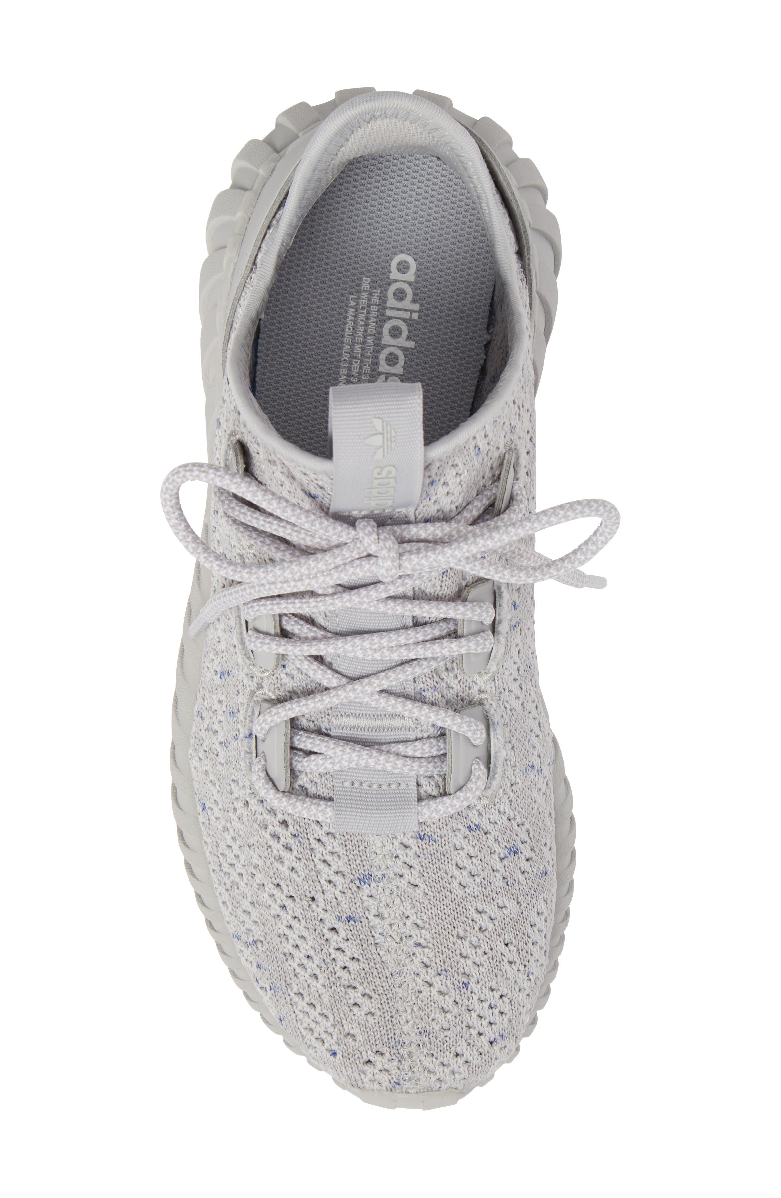 Tubular Doom Sock Primeknit Sneaker,                             Alternate thumbnail 5, color,                             Grey/ White/ Blue