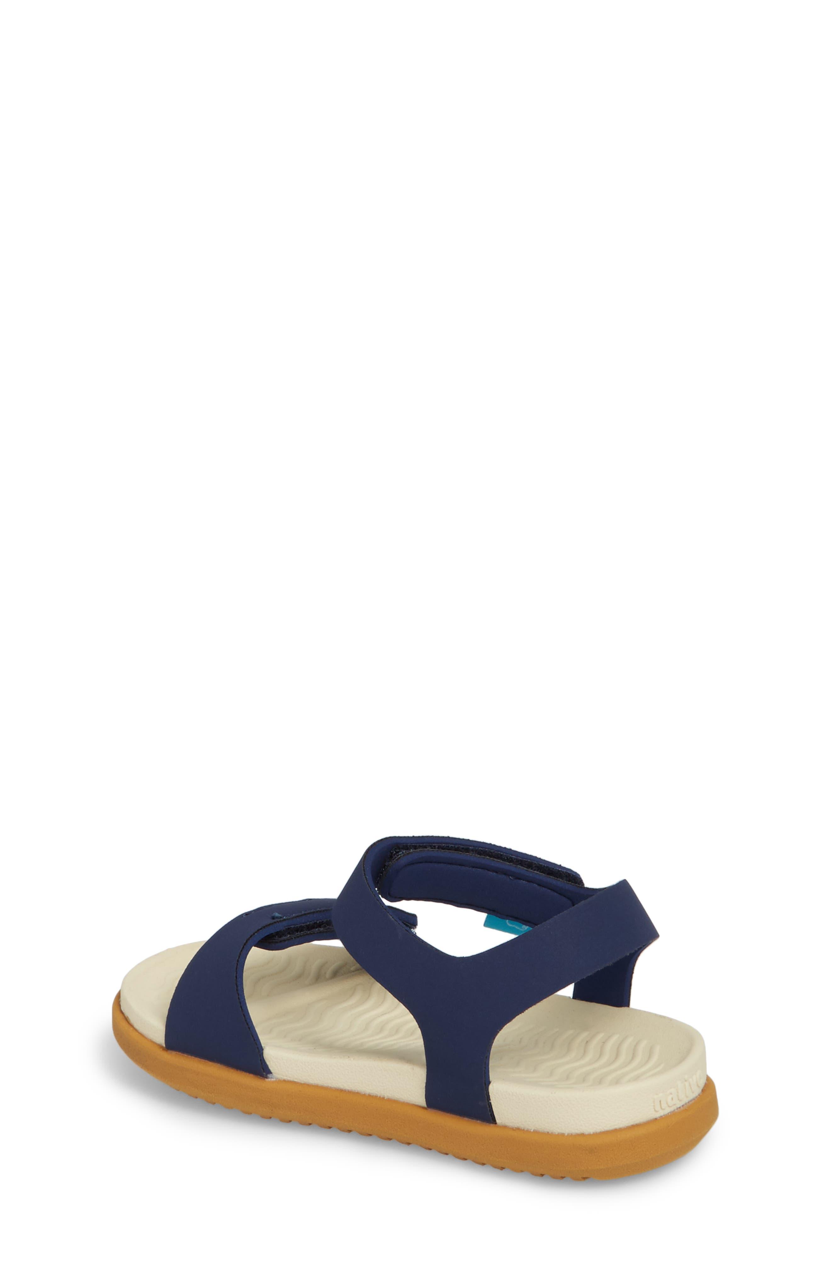 Charley Child Waterproof Flat Sandal,                             Alternate thumbnail 2, color,                             Blue/ Bone White/ Toffee