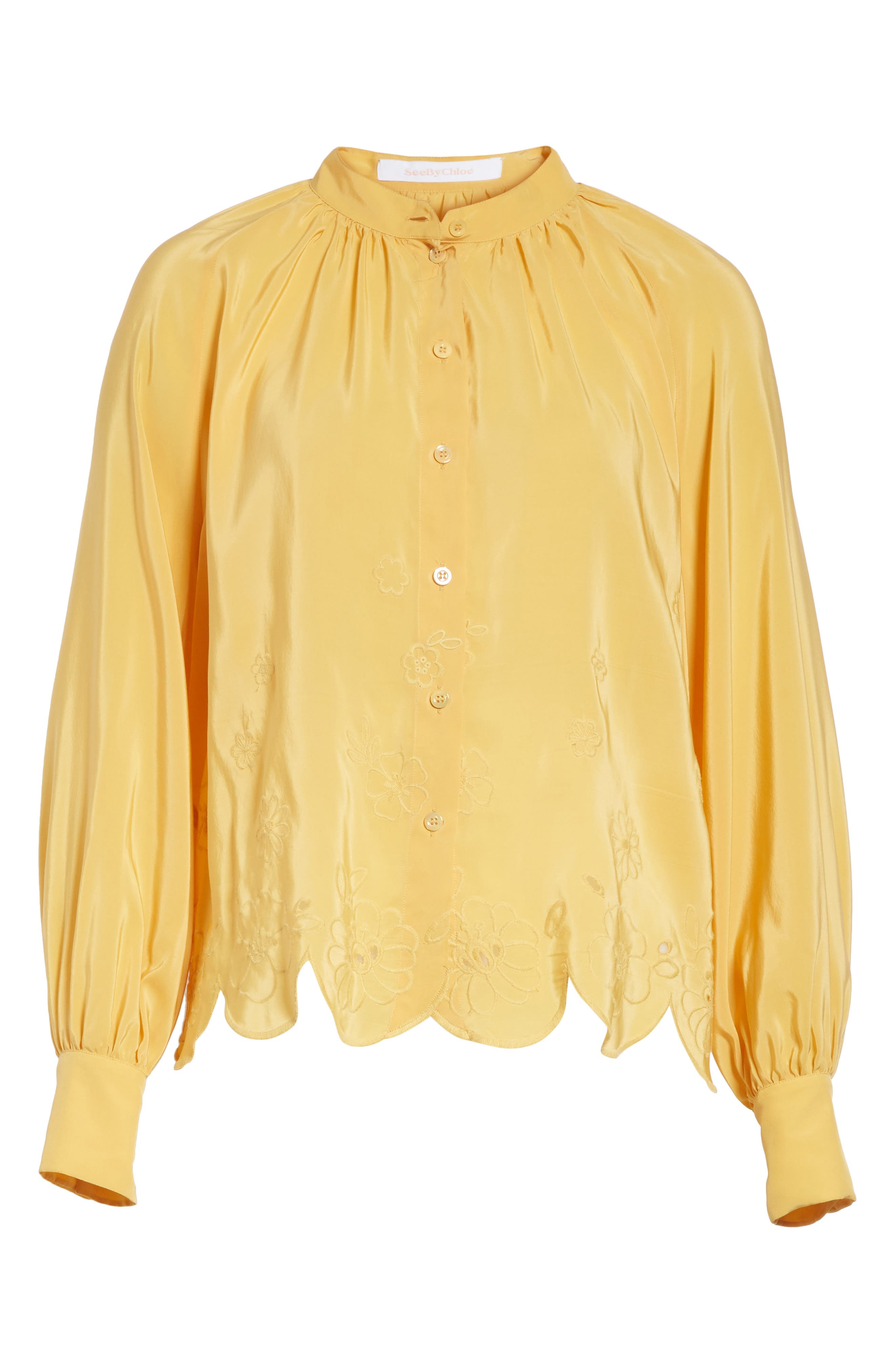 Embroidered Scallop Hem Shirt,                             Alternate thumbnail 6, color,                             Ochre