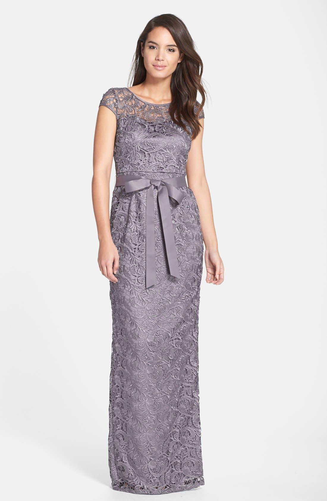 Main Image - Adrianna Papell Lace Gown (Regular & Petite)