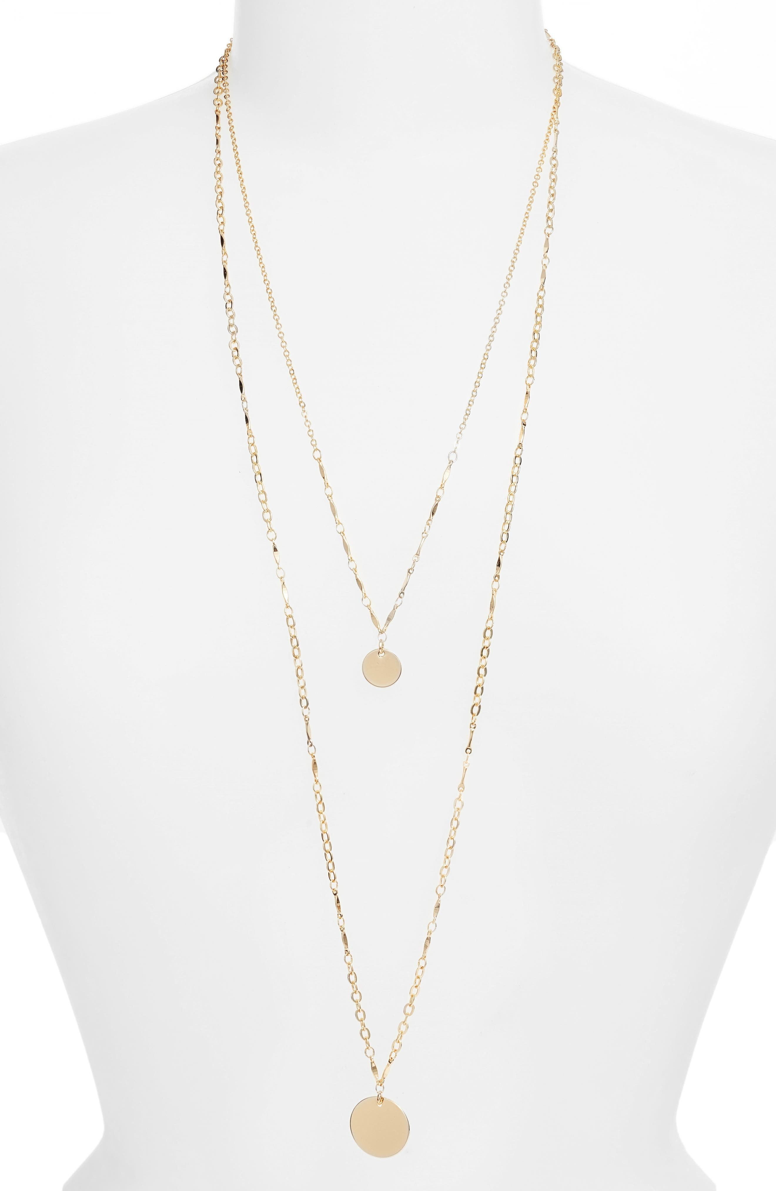 Two-in-One Double Disc Pendant Necklace,                             Main thumbnail 1, color,                             Gold