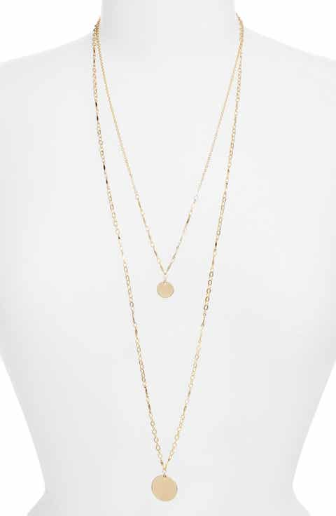Womens necklaces nordstrom halogen two in one double disc pendant necklace aloadofball Images