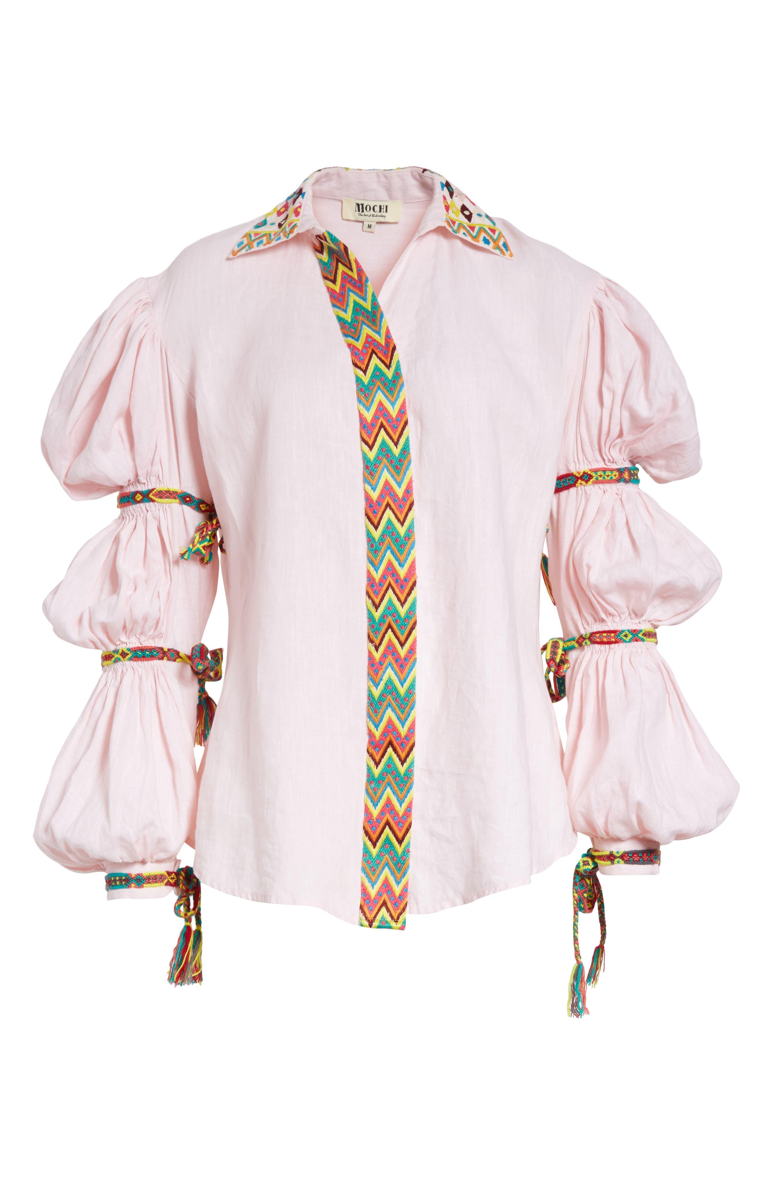 Lillian Bubble Sleeve Linen Shirt,                             Alternate thumbnail 6, color,                             Baby Pink