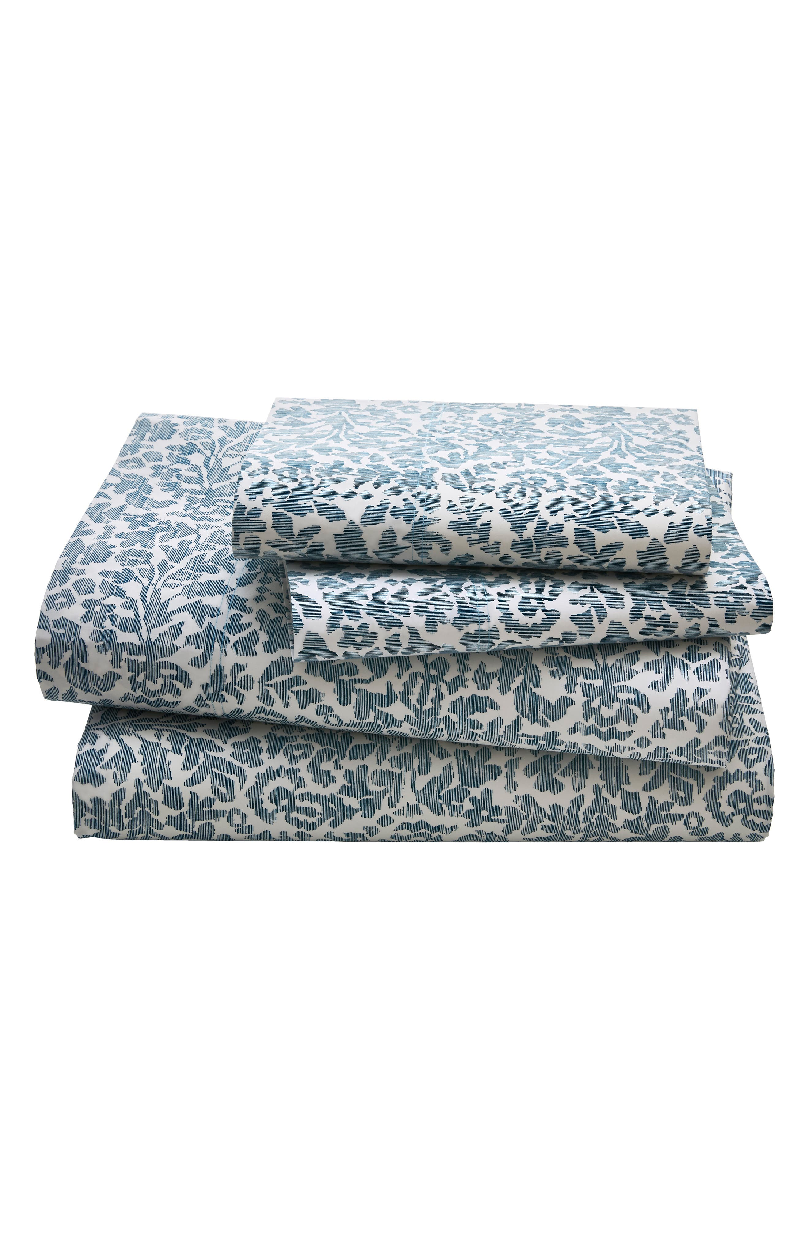 Oaxaca 300 Thread Count Sheet Set,                             Main thumbnail 1, color,                             Azure/ Turquoise/ Aqua