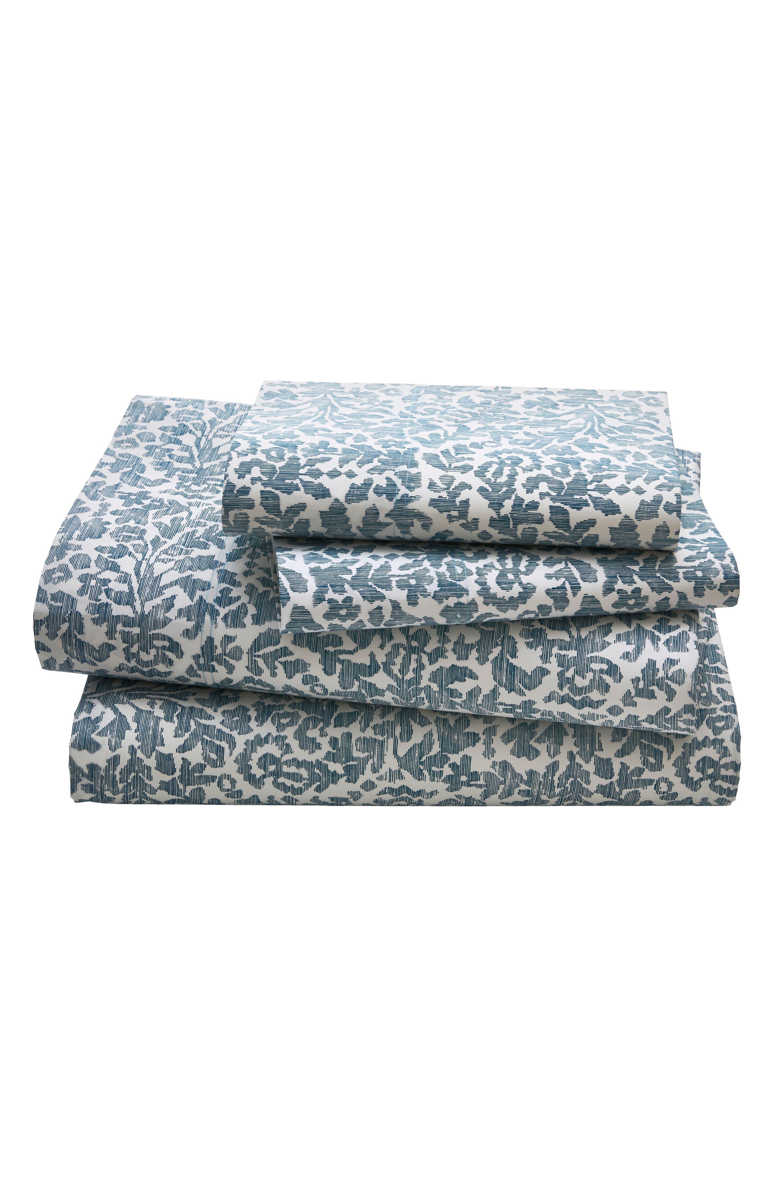 Oaxaca 300 Thread Count Sheet Set,                         Main,                         color, Azure/ Turquoise/ Aqua
