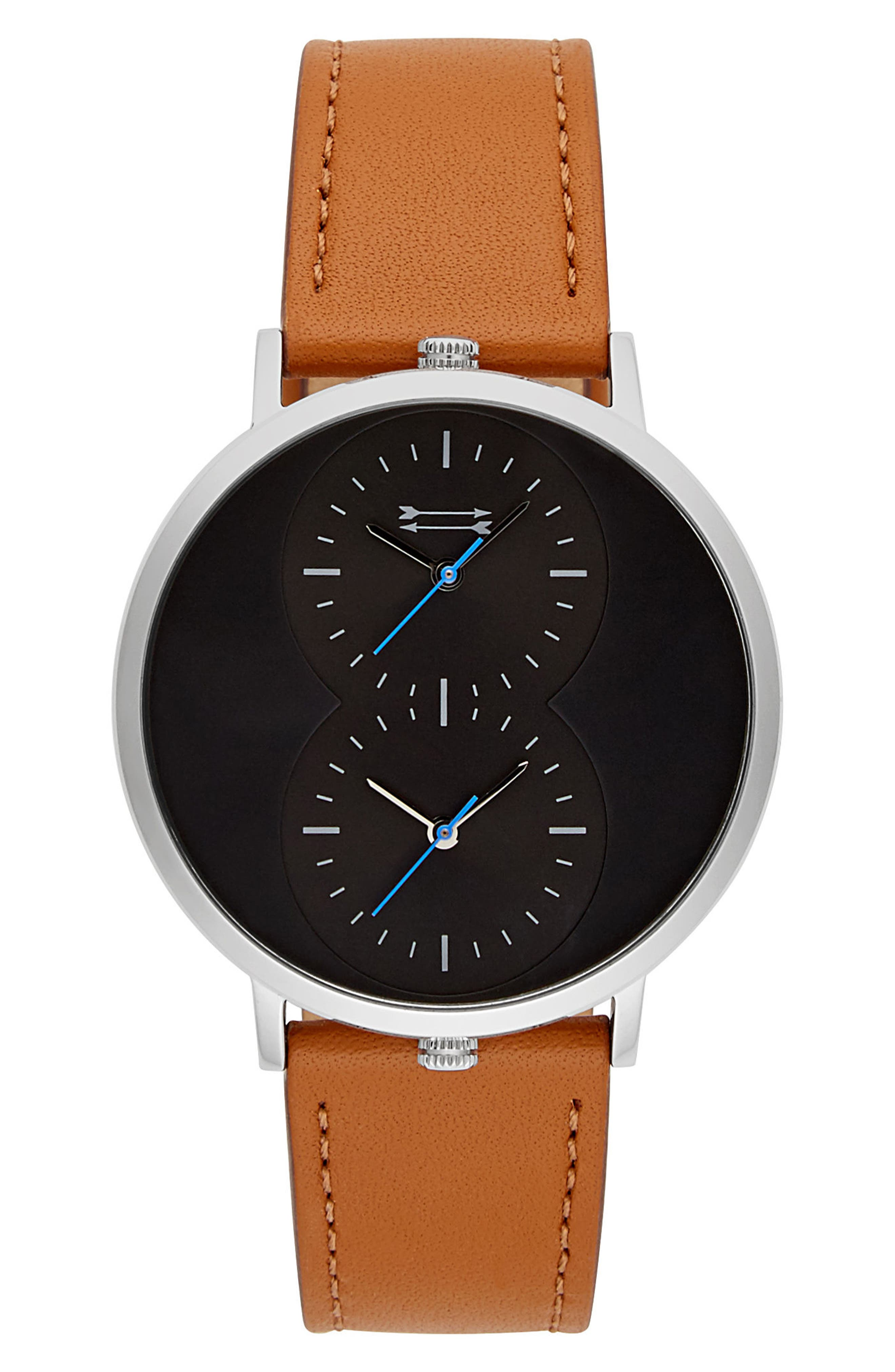 Griffith Leather Strap Watch, 43mm,                         Main,                         color, Tan/ Black/ Silver