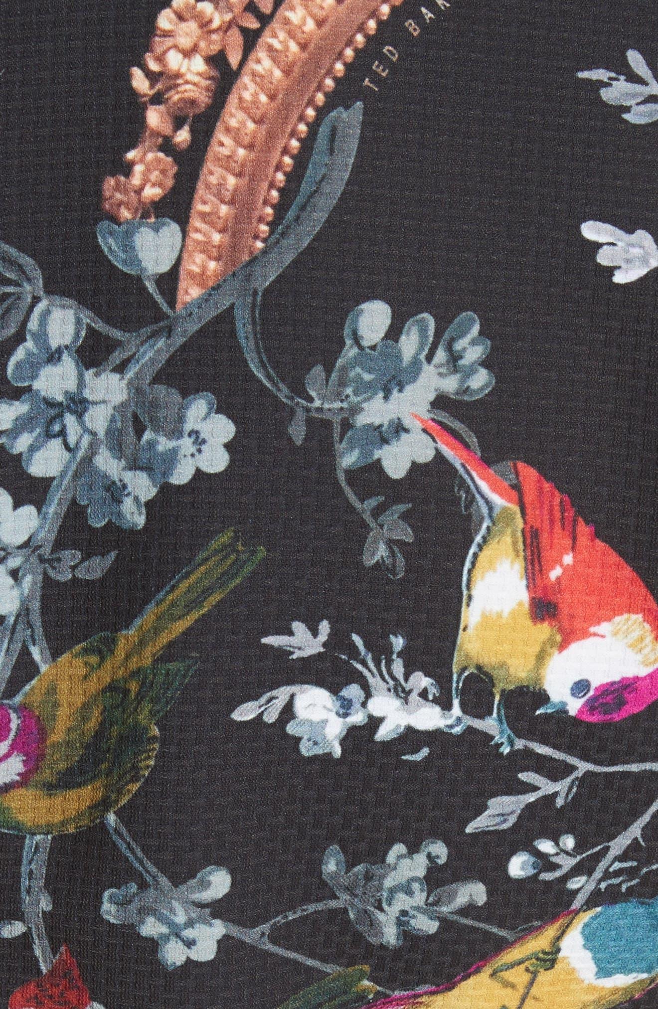 Opulent Fauna Print Cold Shoulder Dress,                             Alternate thumbnail 5, color,                             Black