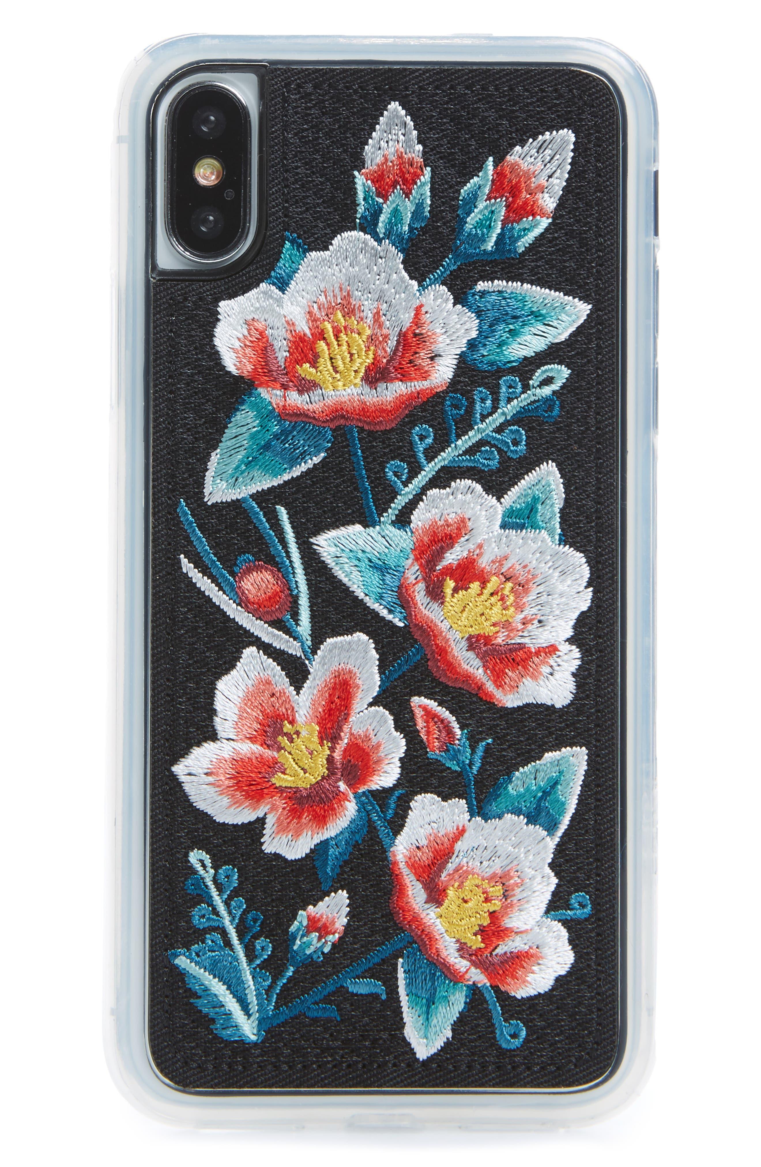 Camellia iPhone X Case,                         Main,                         color, White Multi