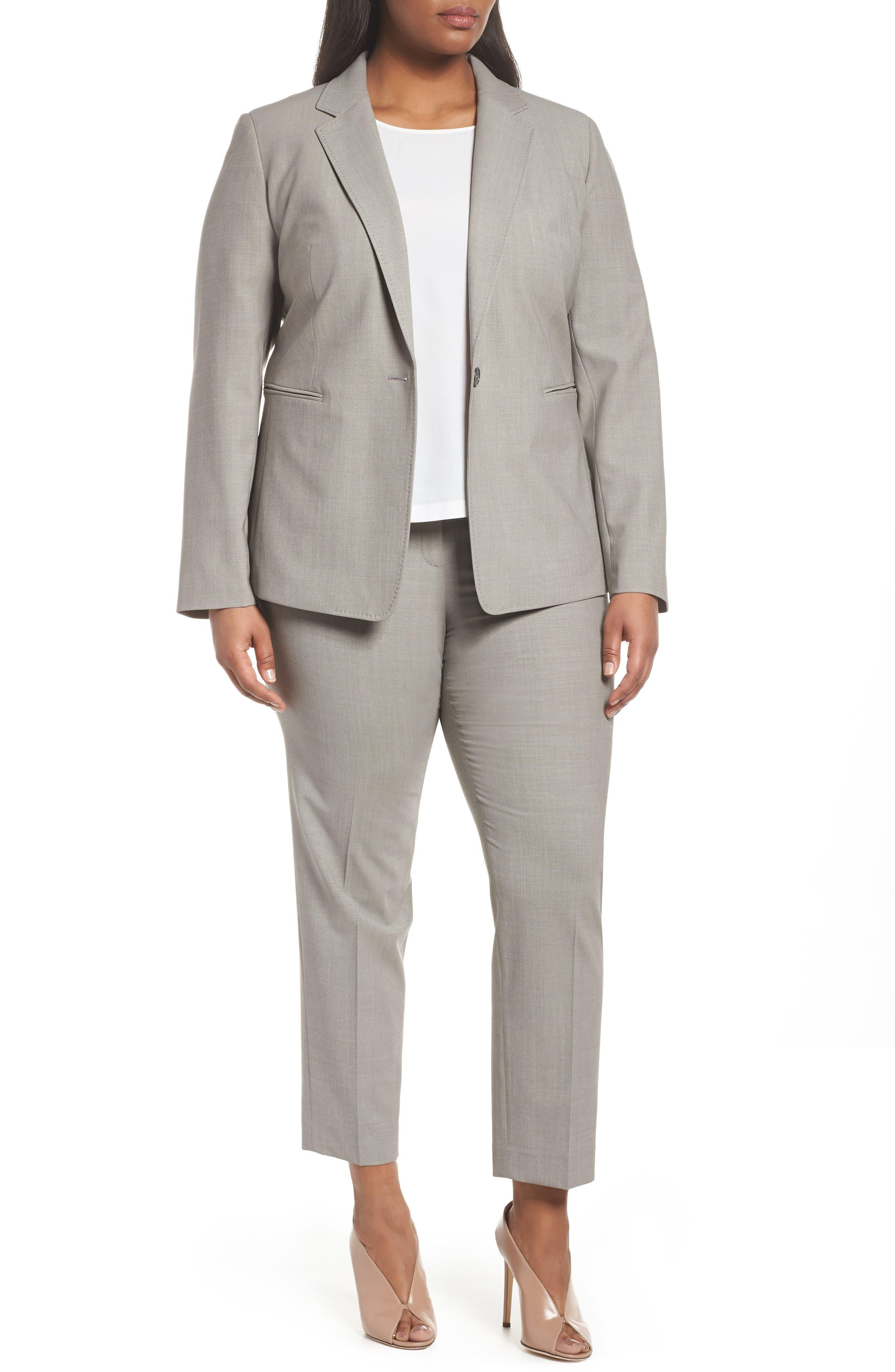 Bleecker Stretch Wool Suit Pants,                             Alternate thumbnail 7, color,                             Feather Grey Melange