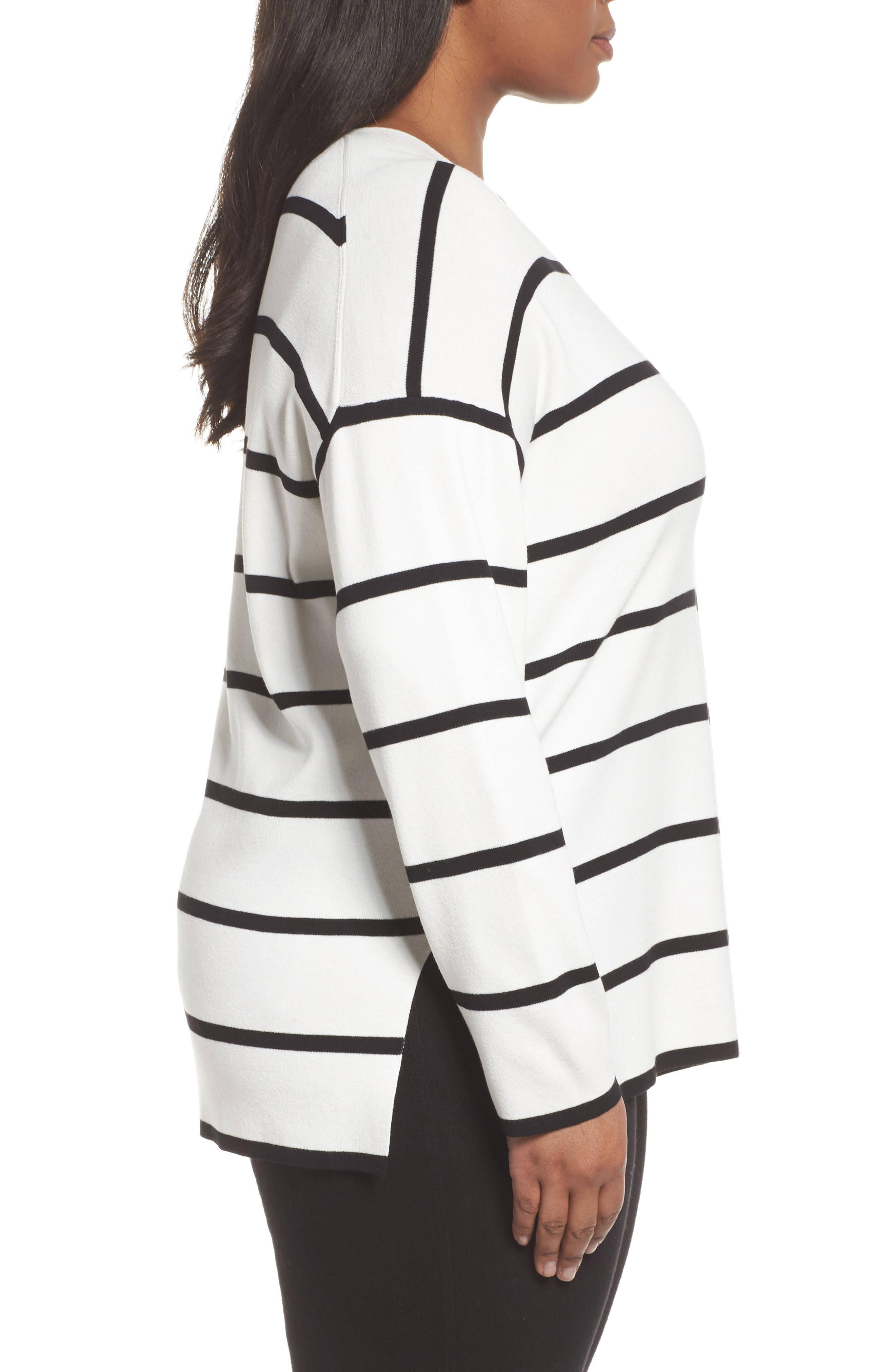 Alternate Image 3  - Lafayette 148 New York Stripe Sweater (Plus Size)