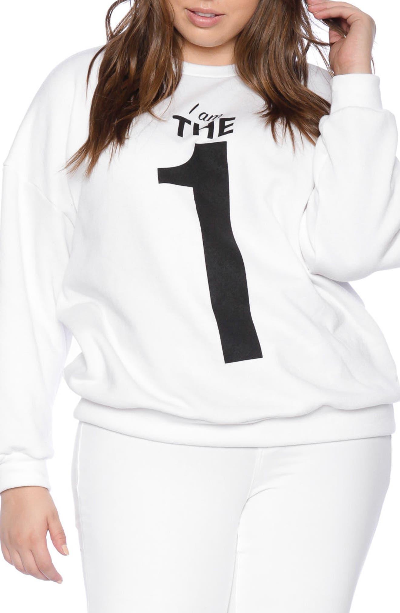 I Am the One Oversize Sweatshirt,                             Main thumbnail 1, color,                             White