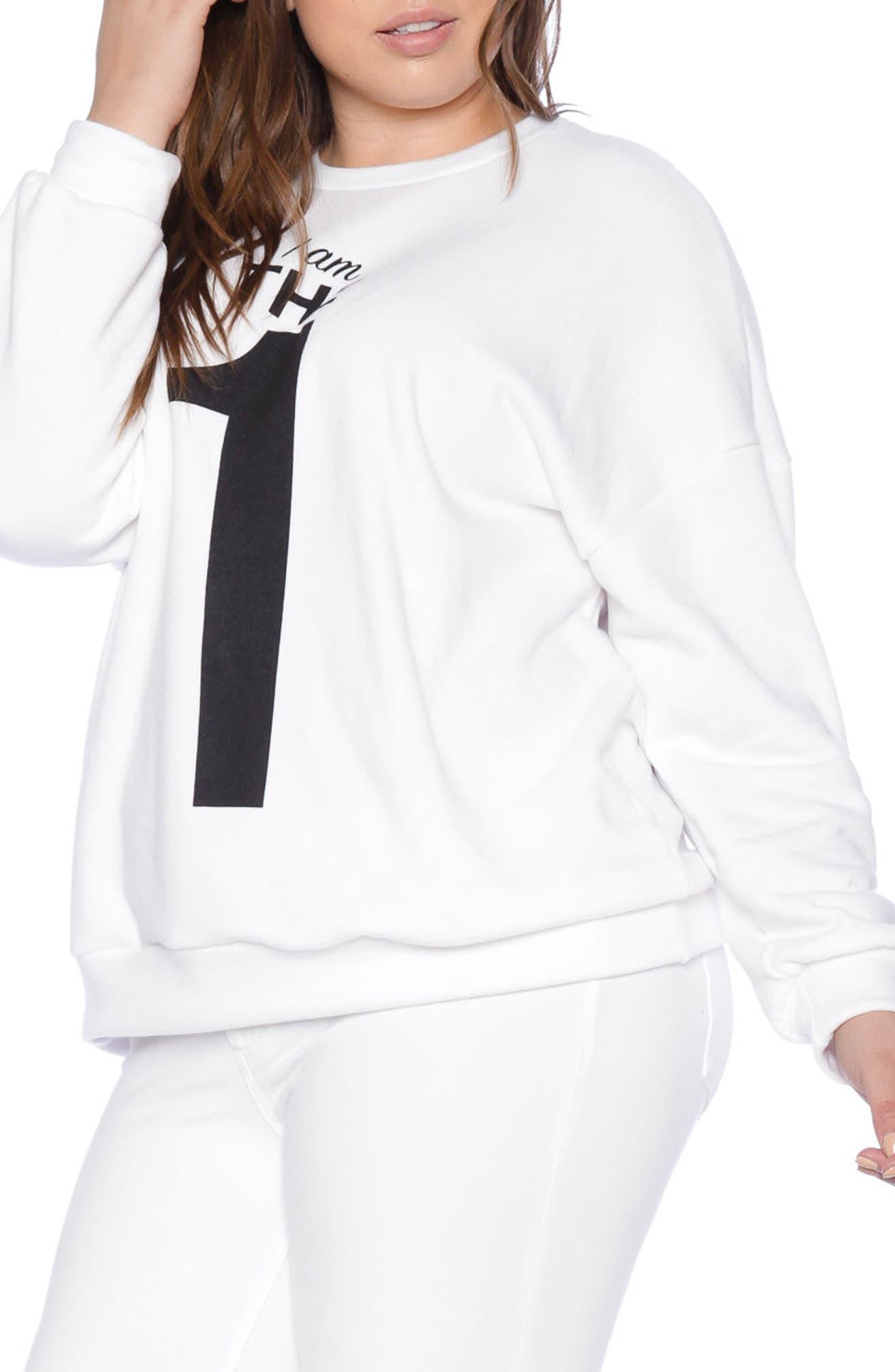 I Am the One Oversize Sweatshirt,                             Alternate thumbnail 3, color,                             White