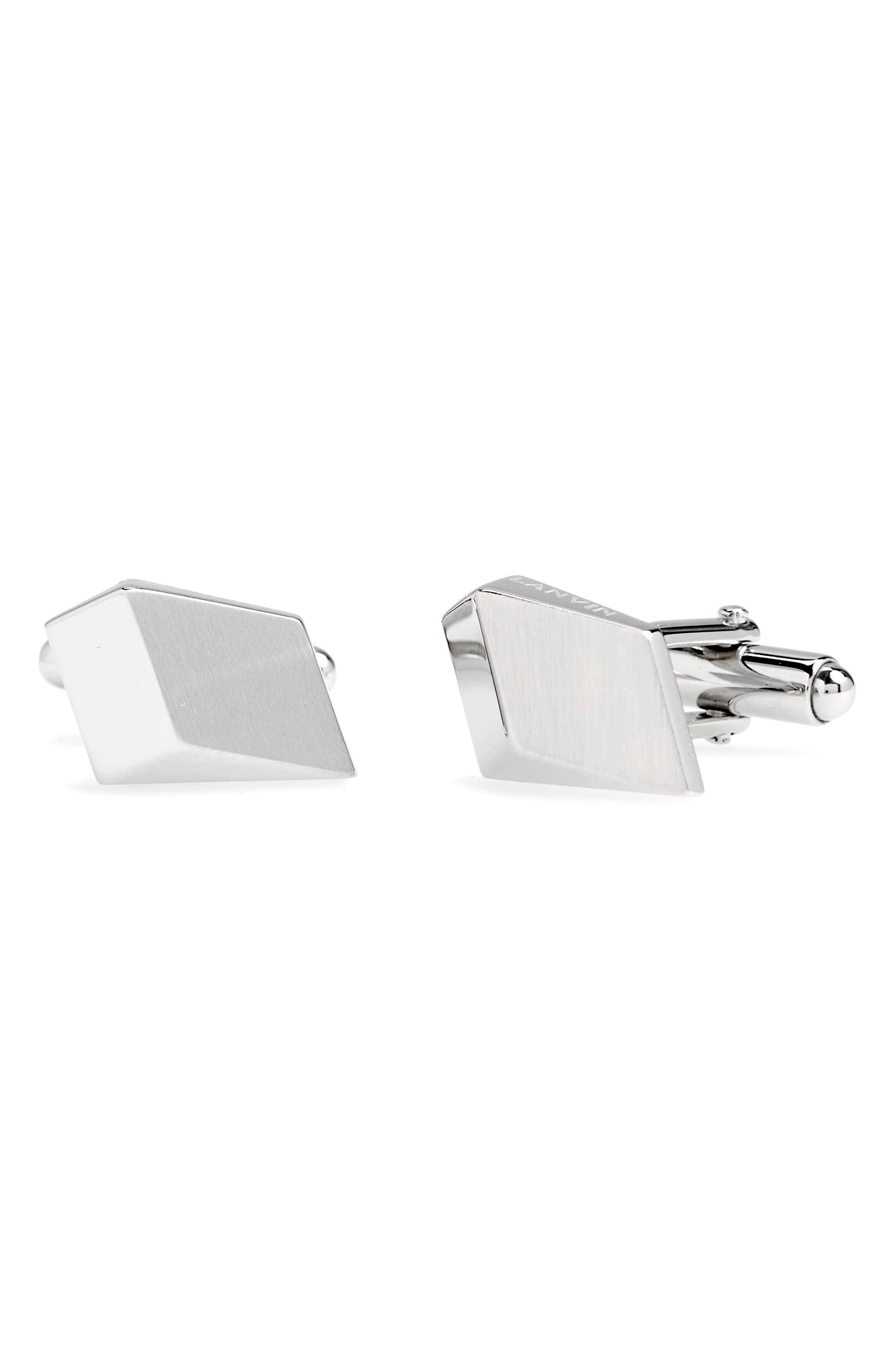 Geo Square Cuff Links,                         Main,                         color, 3 Rhodium