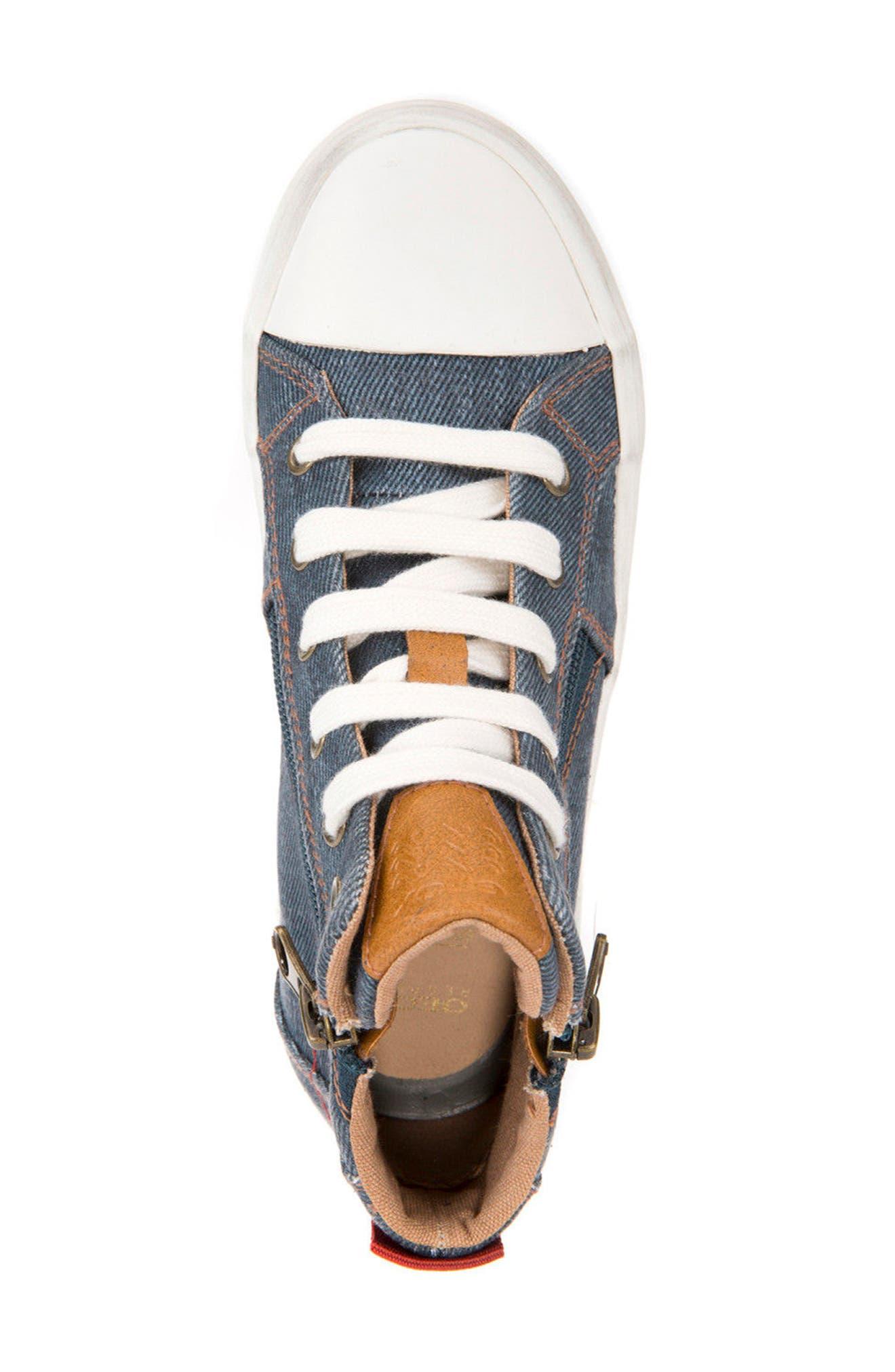 Alonisso High Top Sneaker,                             Alternate thumbnail 5, color,                             Blue/ Dark Red