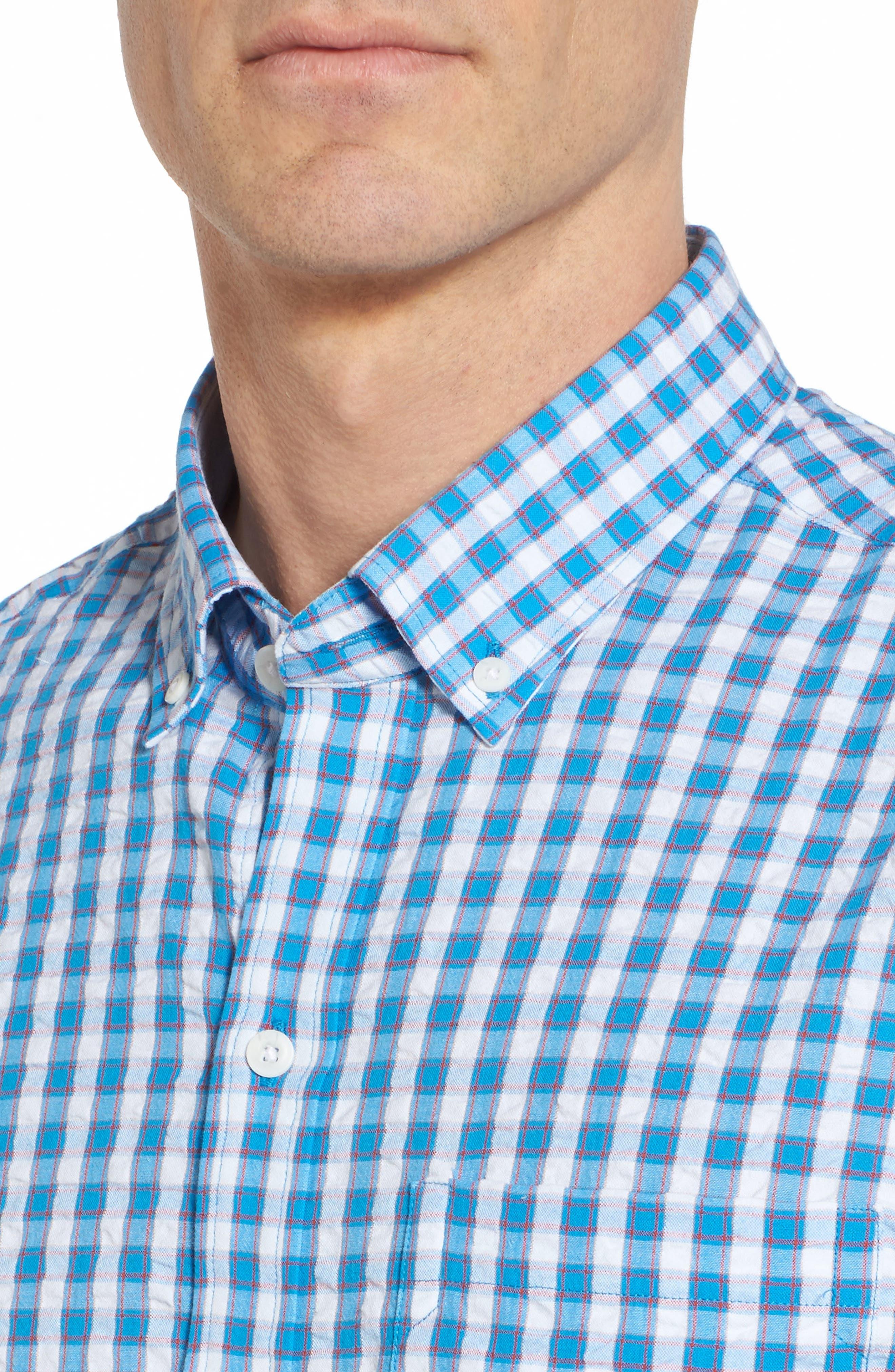 Tyler Classic Fit Seersucker Sport Shirt,                             Alternate thumbnail 4, color,                             Poolside
