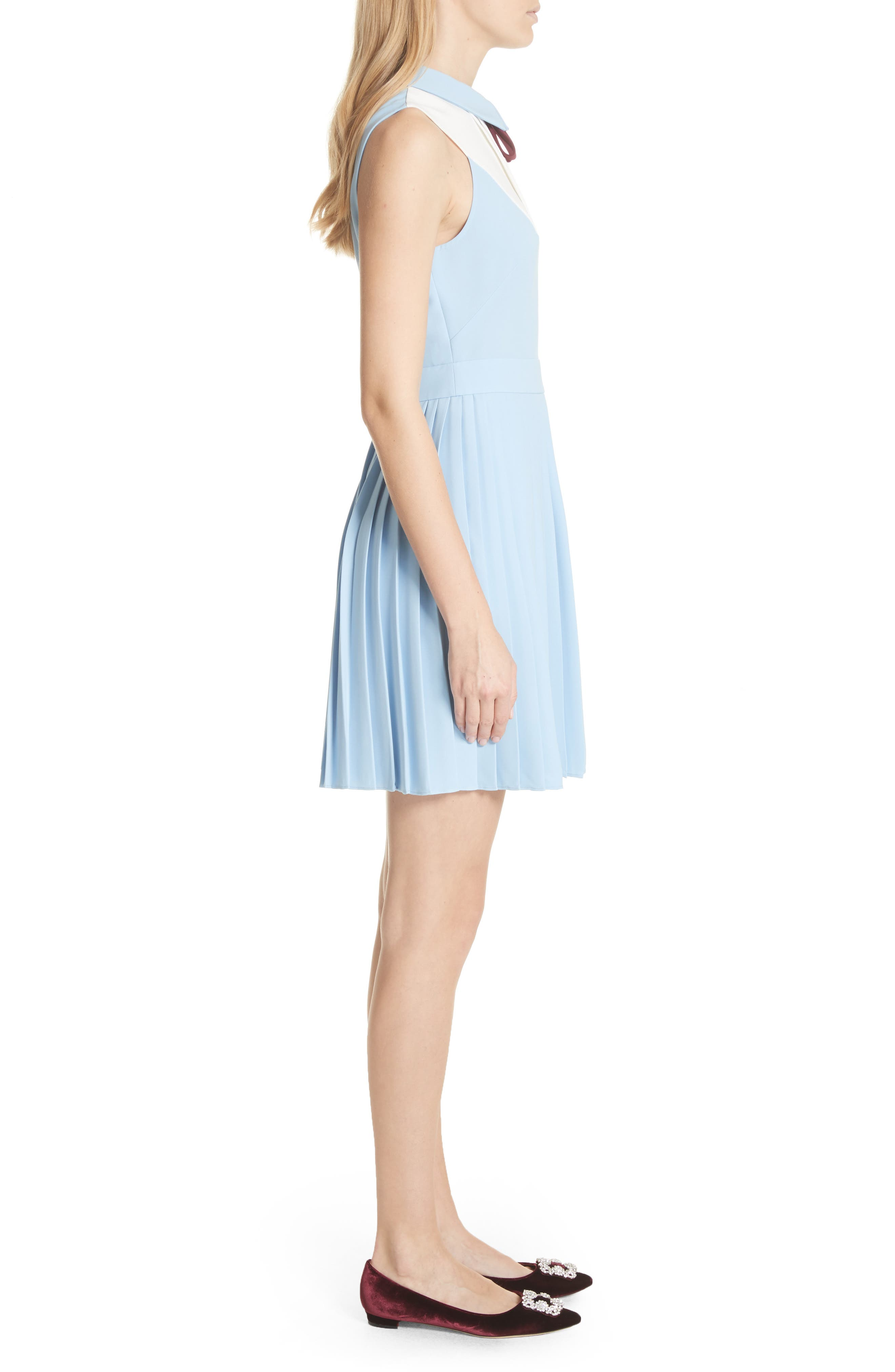 Pleated Fit & Flare Dress,                             Alternate thumbnail 3, color,                             Baby Blue