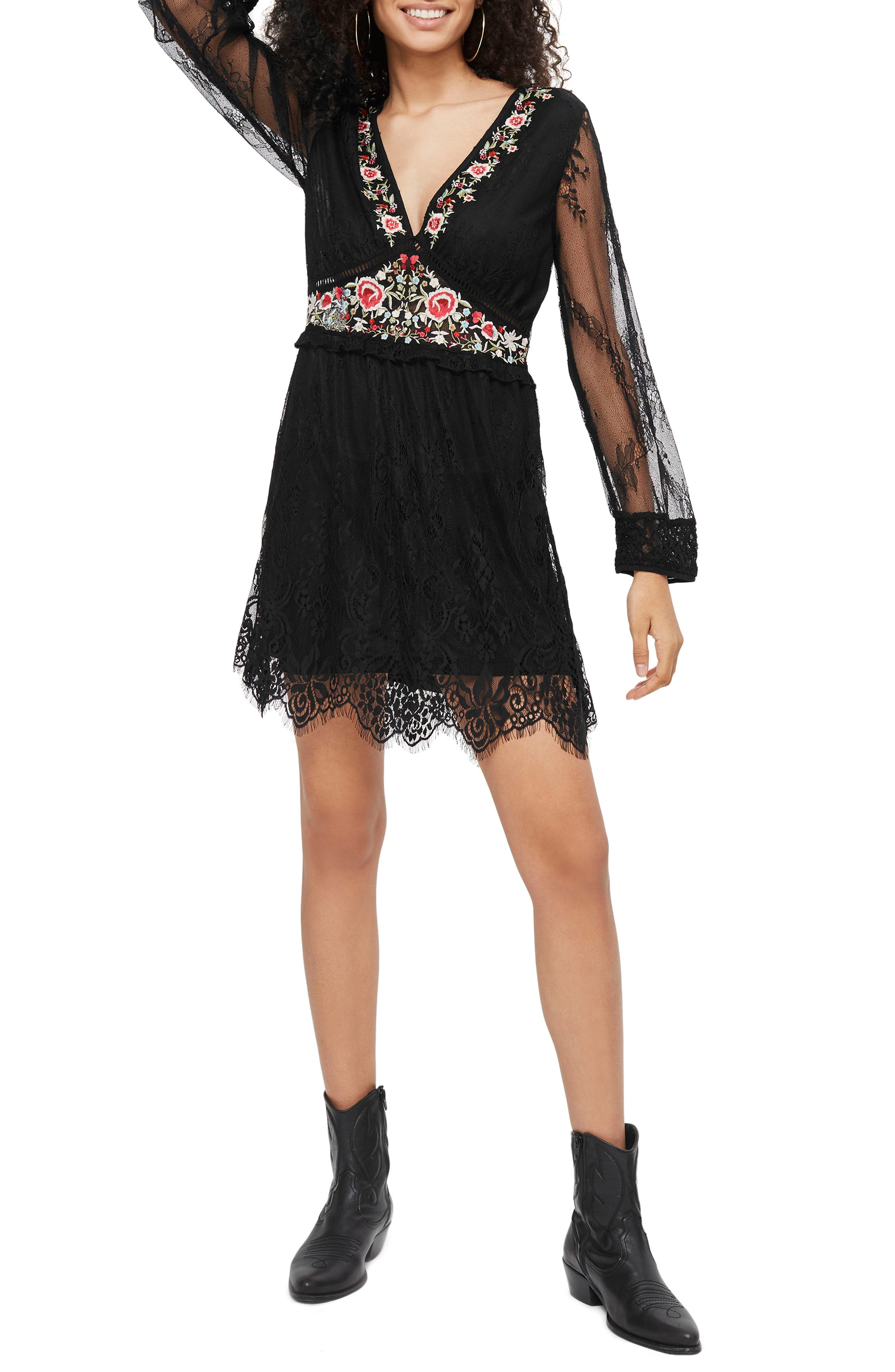 Embroidered Lace Dress,                         Main,                         color, Black