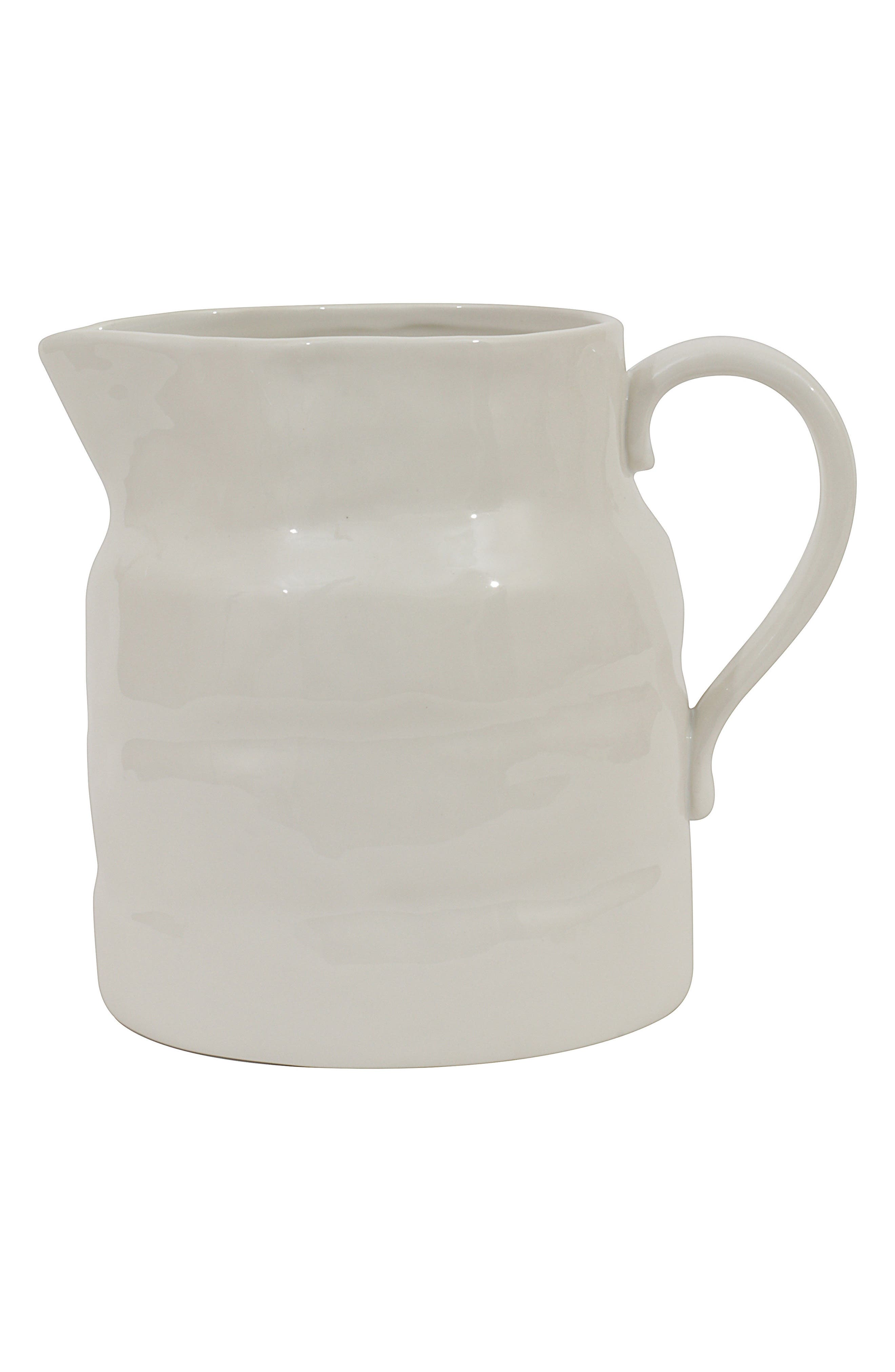 Large Ceramic Pitcher,                         Main,                         color, White