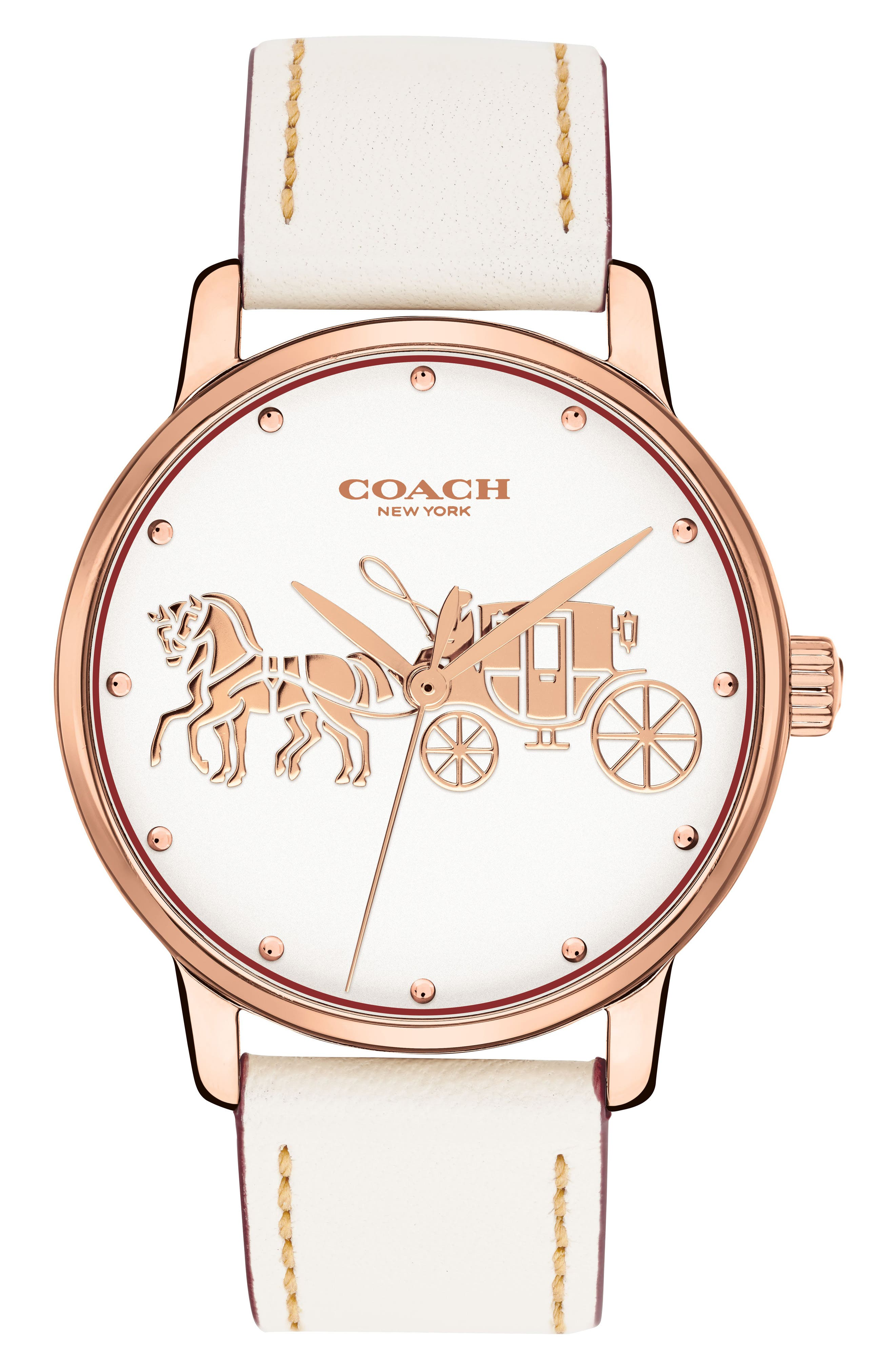 COACH Grand Leather Strap Watch, 36mm