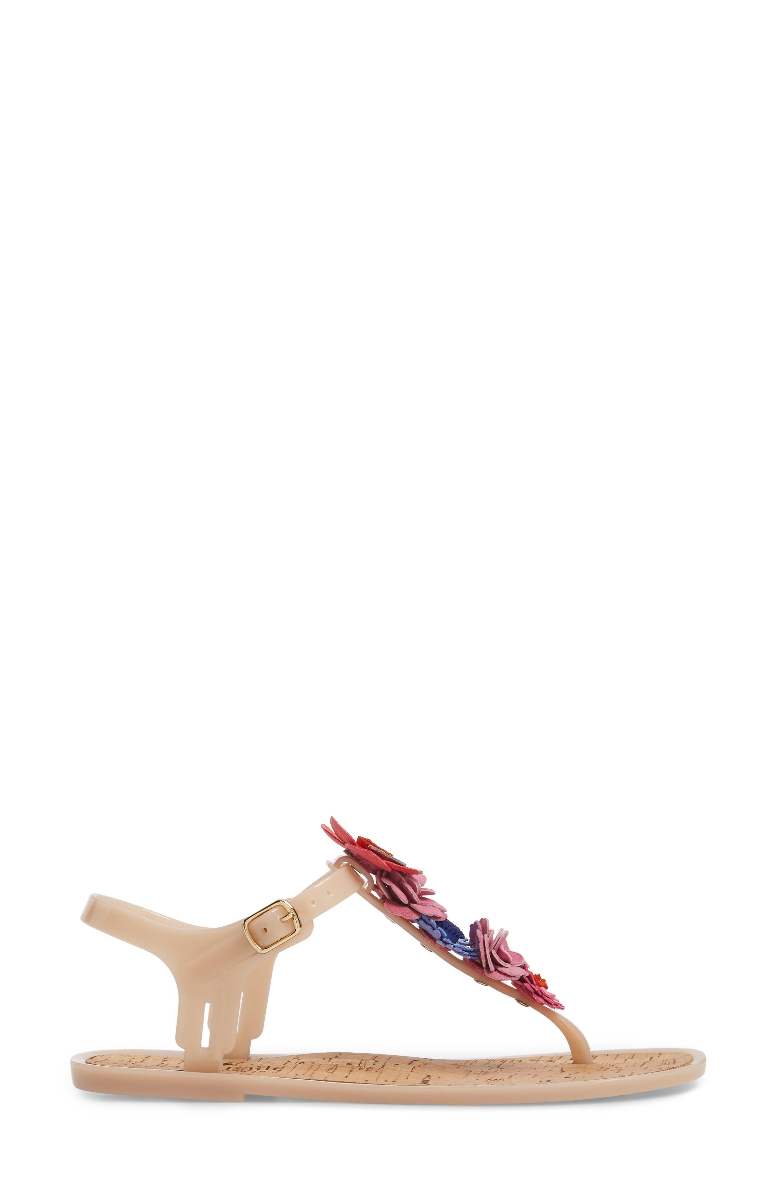 fatema floral embellished T-strap sandal,                             Alternate thumbnail 3, color,                             Dusty Mauve