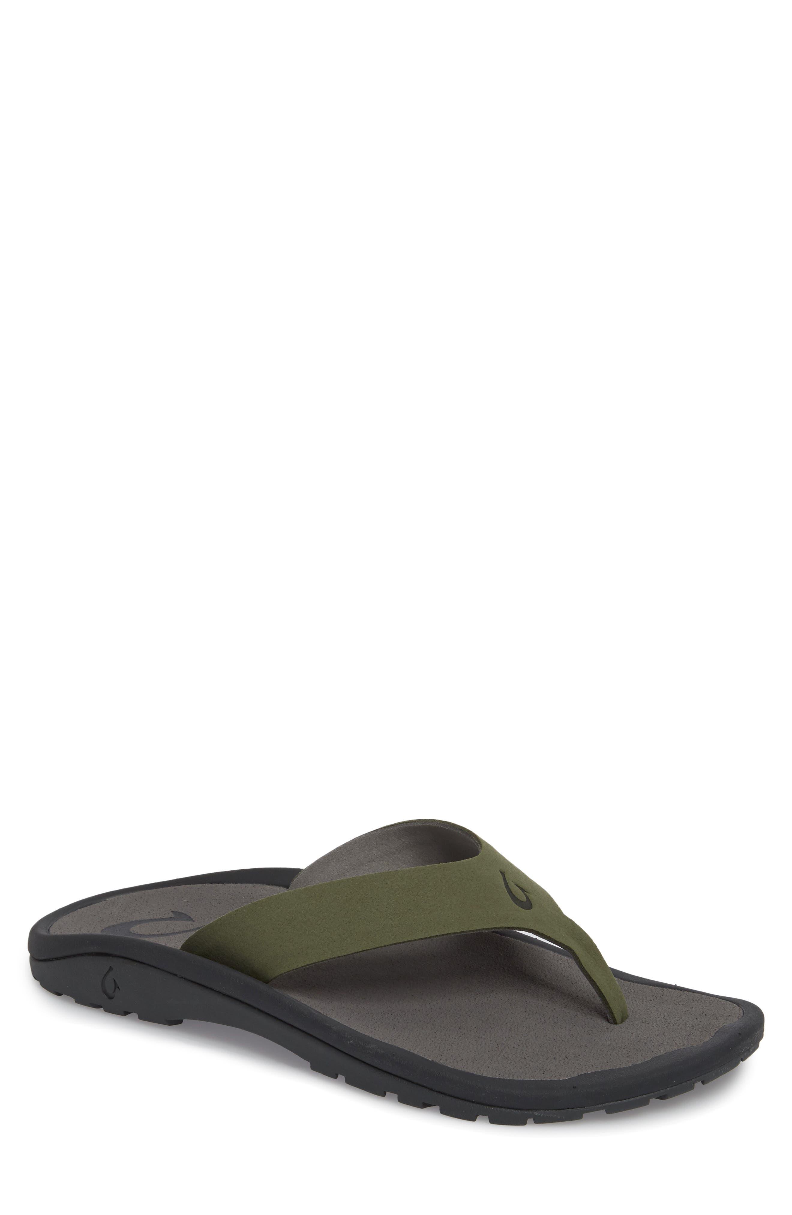 Ohana Ho'okahi Flip Flop,                         Main,                         color, Sea Grass/ Charcoal