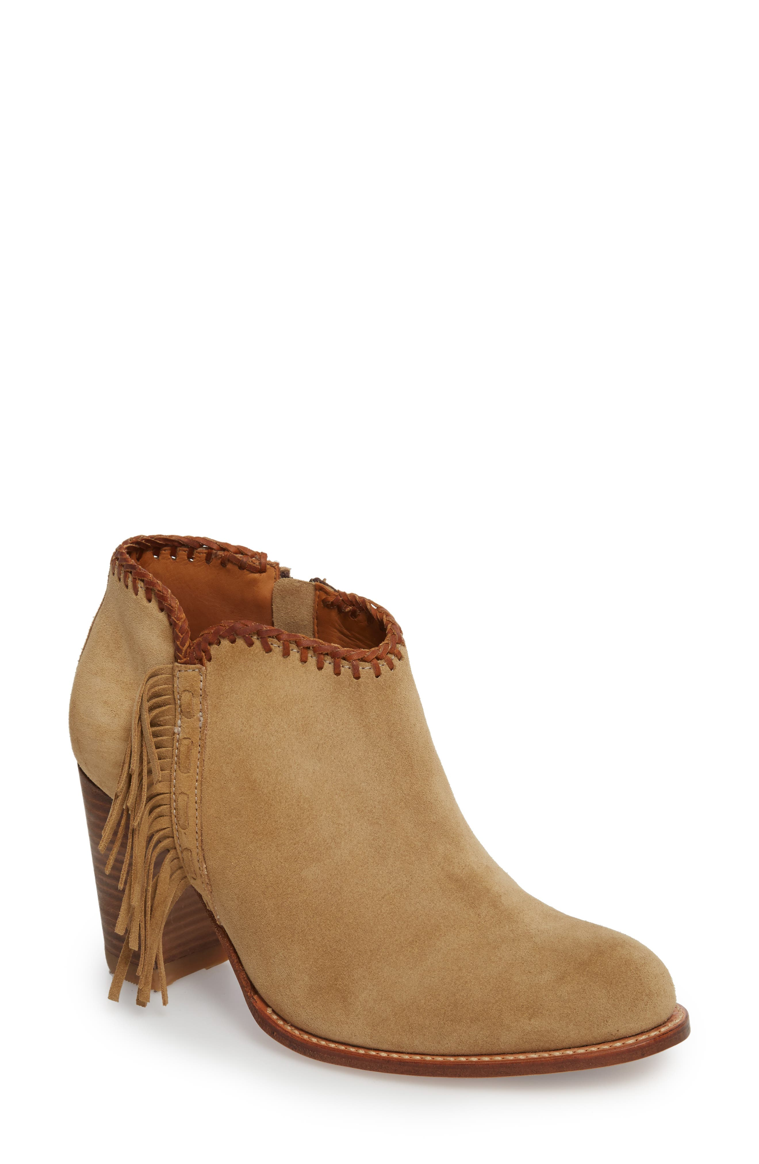 Sonya Fringed Bootie,                         Main,                         color, Taupe Suede