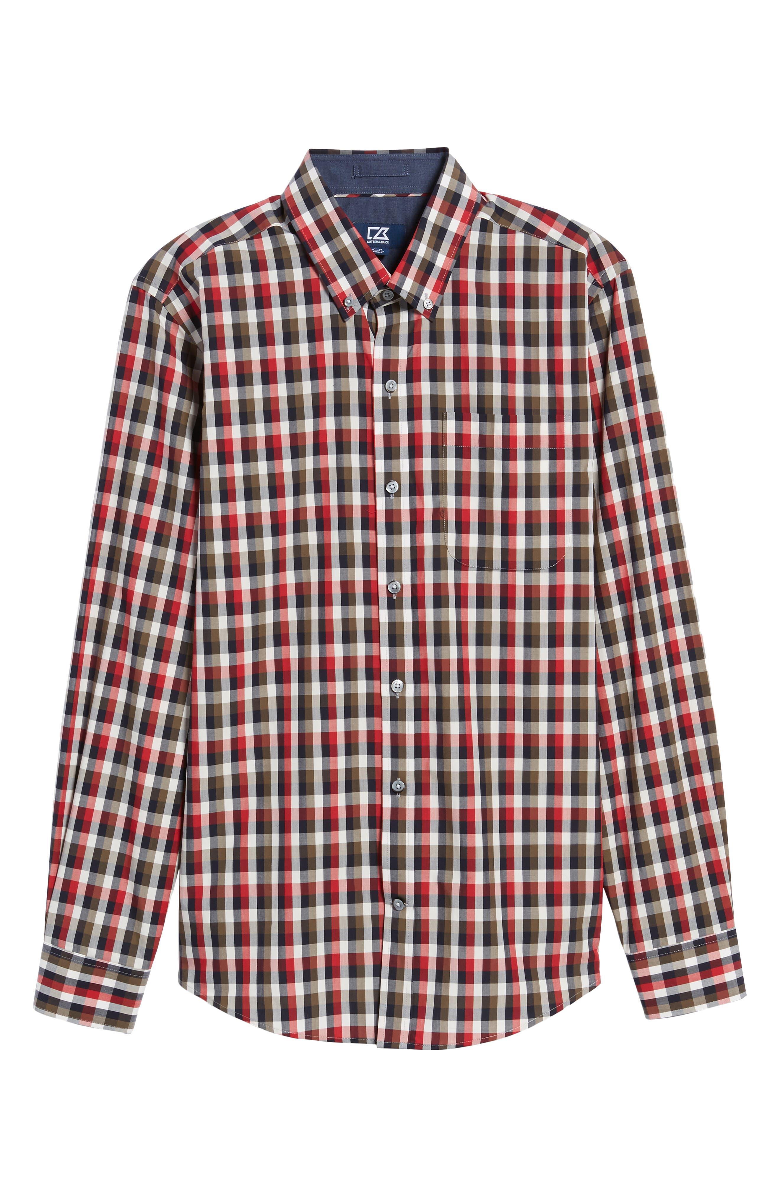 Sawyer Check Non-Iron Sport Shirt,                             Alternate thumbnail 6, color,                             Sedona
