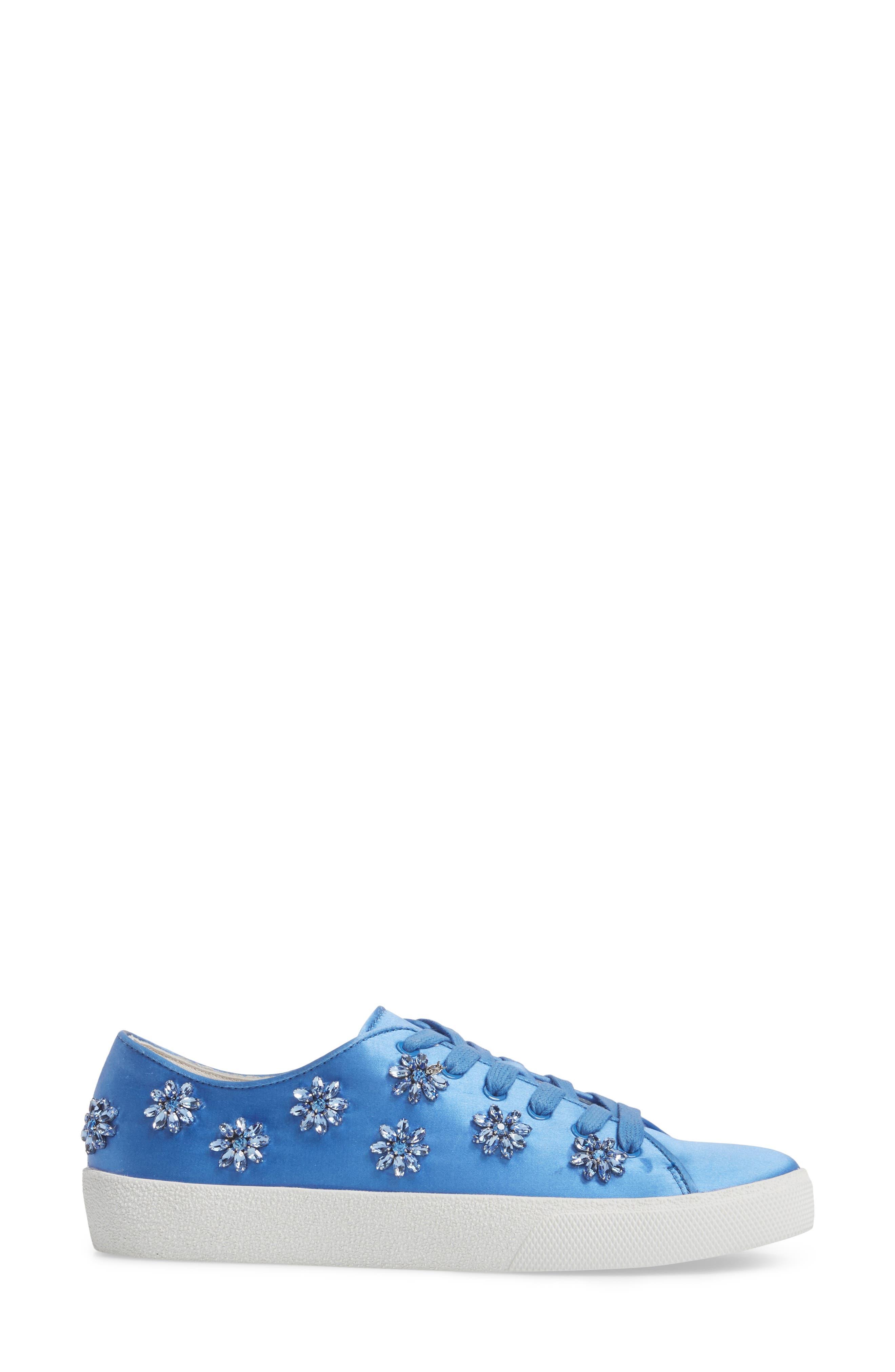 Cleo Crystal Embellished Sneaker,                             Alternate thumbnail 3, color,                             Cerulean