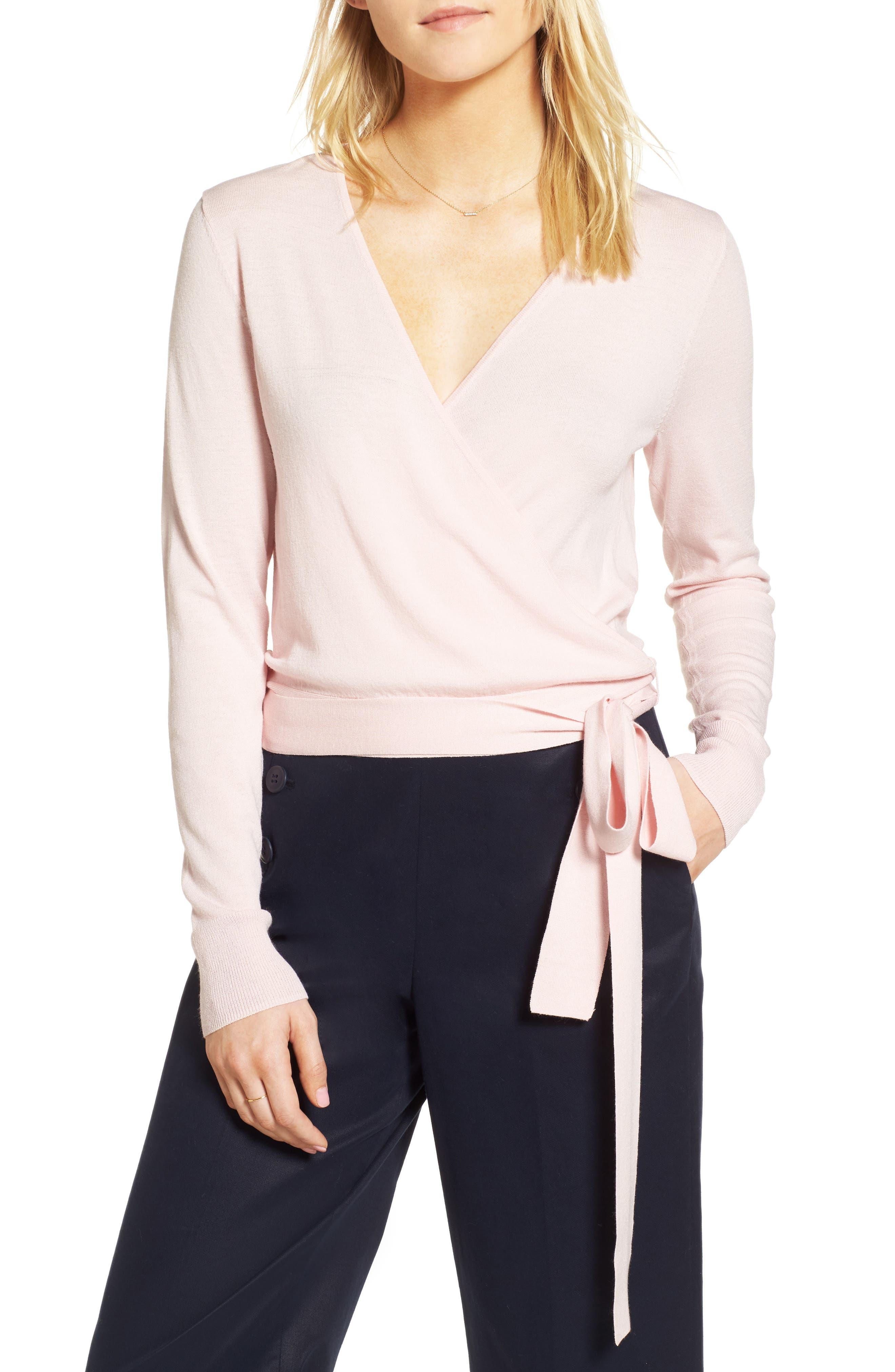Wrap Sweater,                         Main,                         color, Pink Potpourri