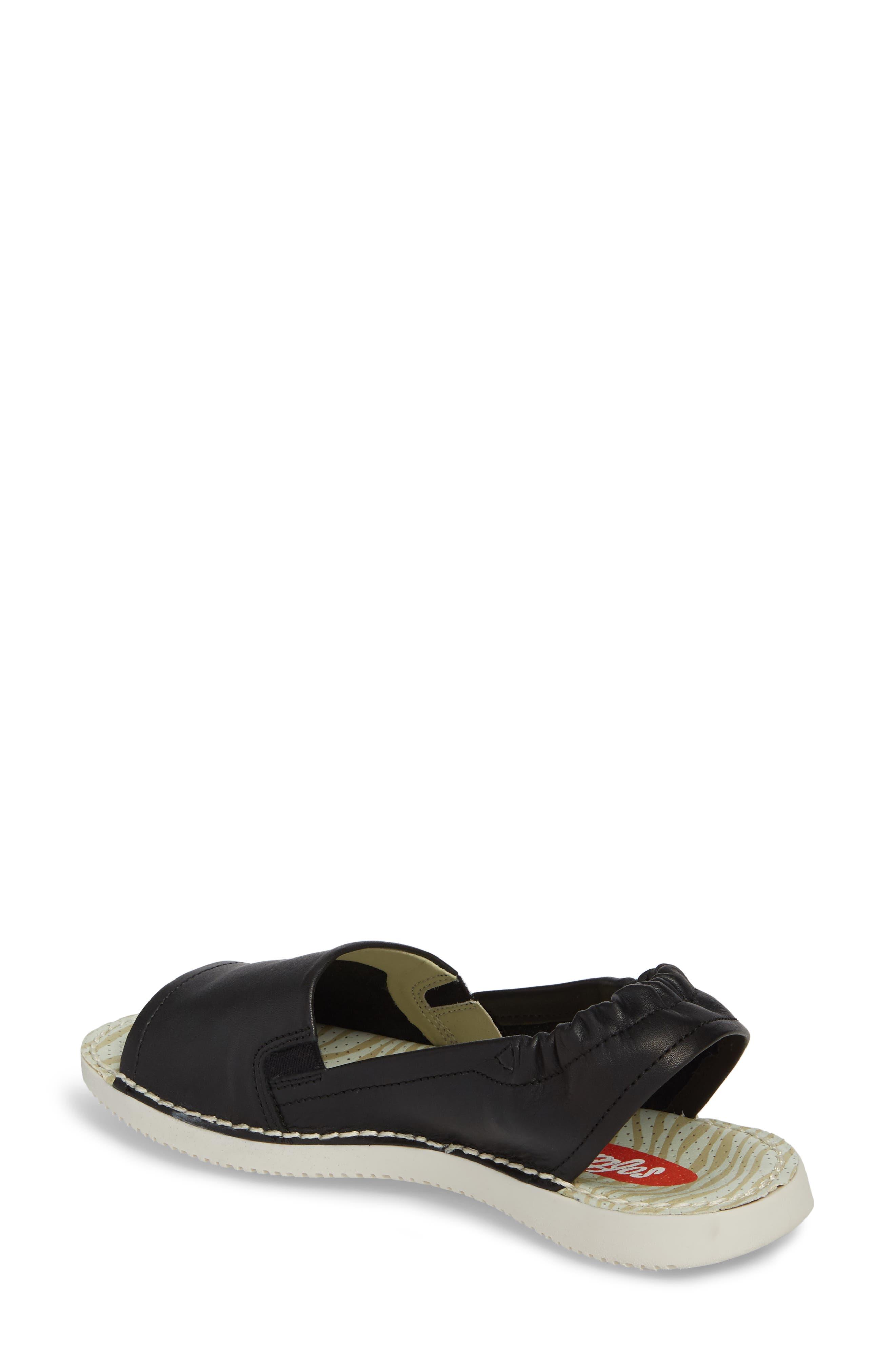 Tee Flat Sandal,                             Alternate thumbnail 2, color,                             Black Leather