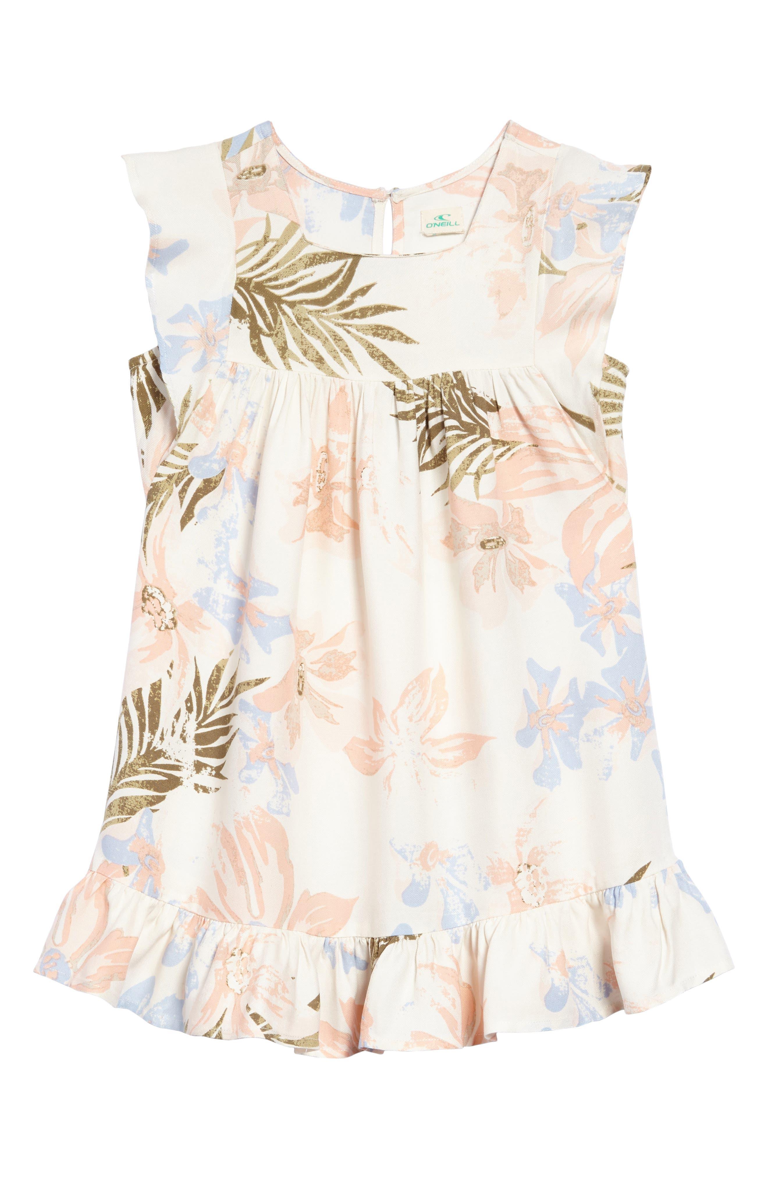 Main Image - O'Neill Britt Flutter Sleeve Dress (Toddler Girls & Little Girls)