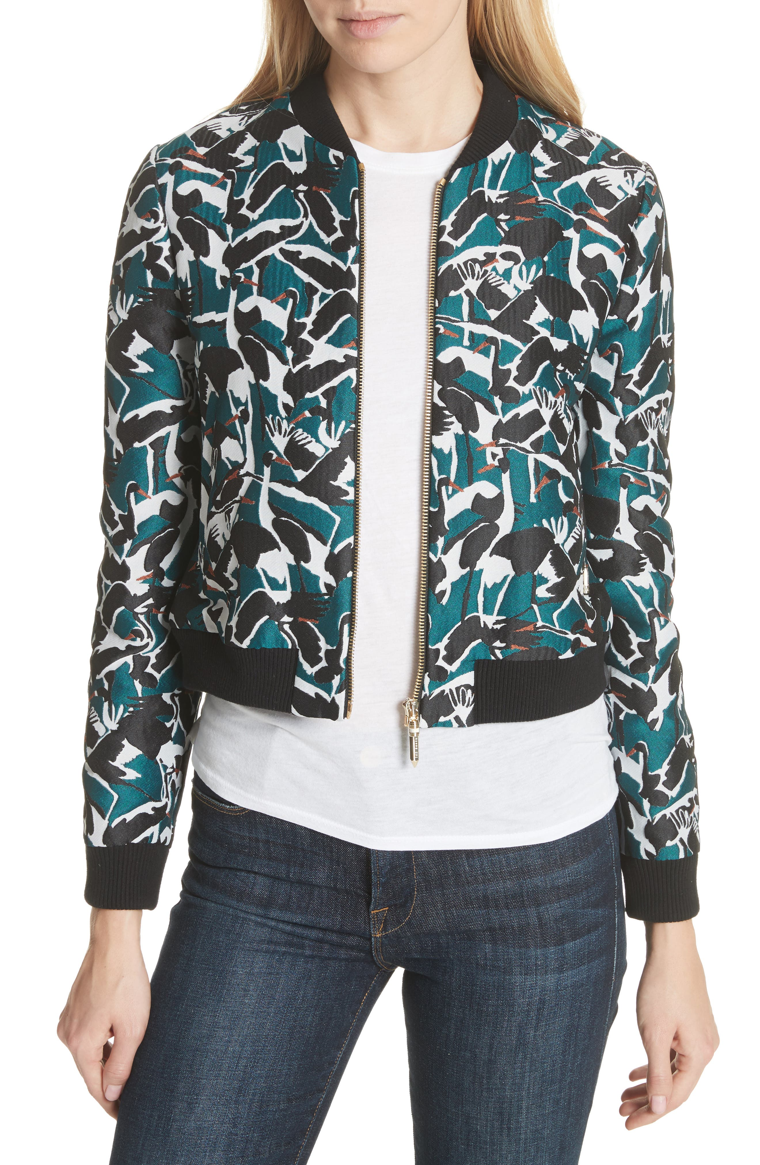 Colour by London Joeshi Bomber Jacket,                         Main,                         color, Teal