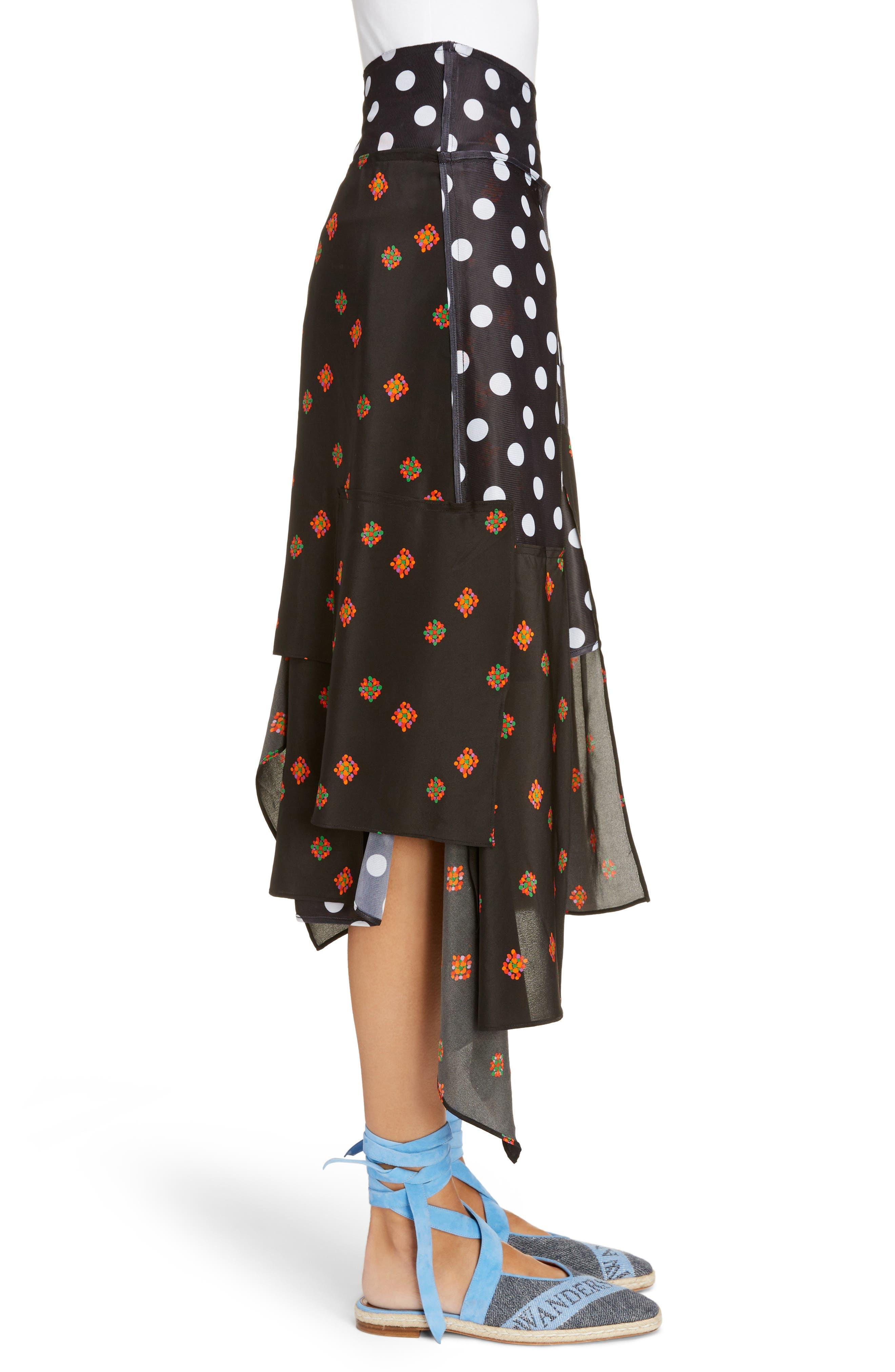 Polka Dot & Floral Panel Skirt,                             Alternate thumbnail 3, color,                             Black