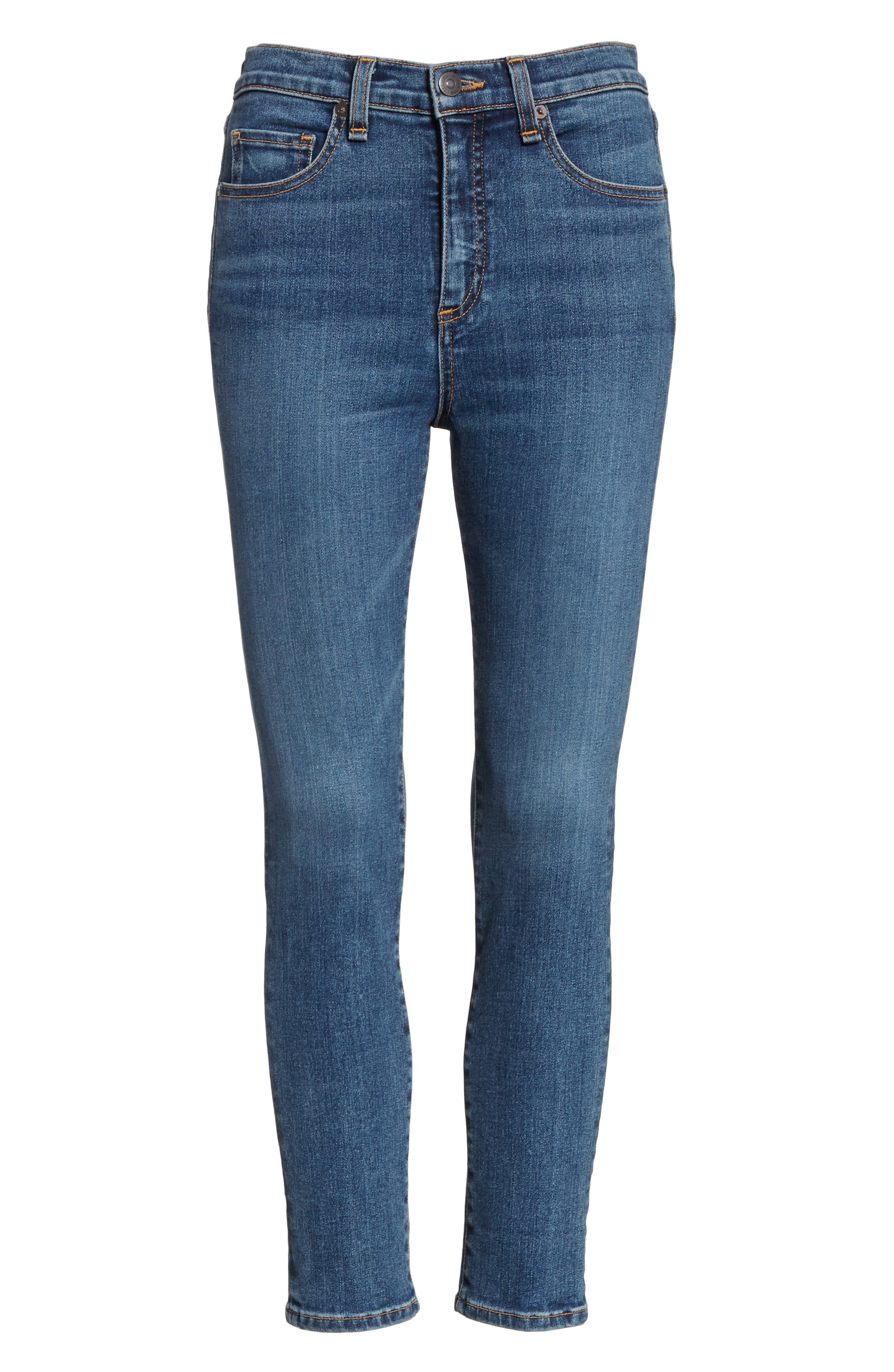 Kate Crop Skinny Jeans,                             Alternate thumbnail 6, color,                             Classic Wash