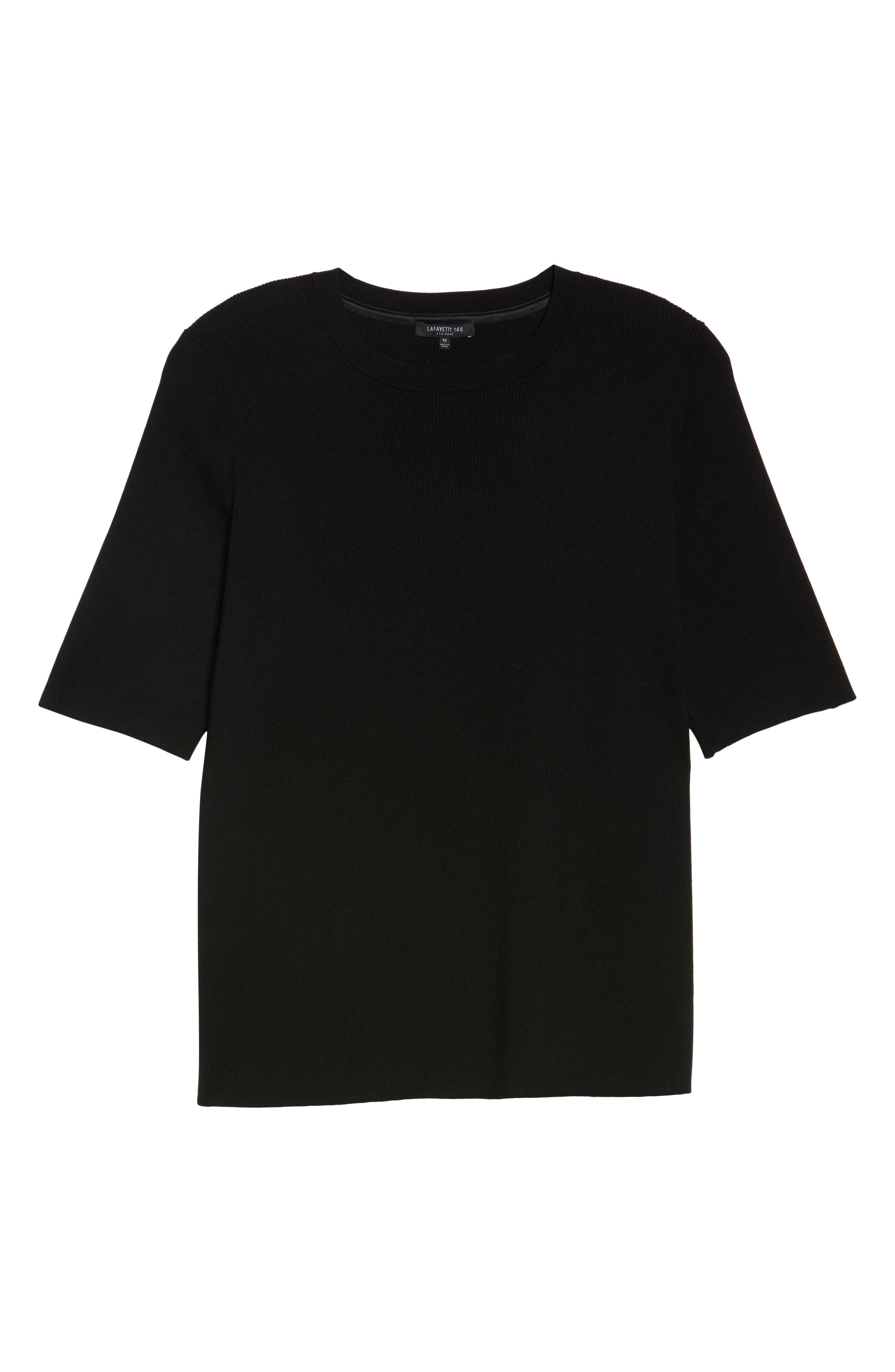 Skinny Ribbed Sweater,                             Alternate thumbnail 6, color,                             Black