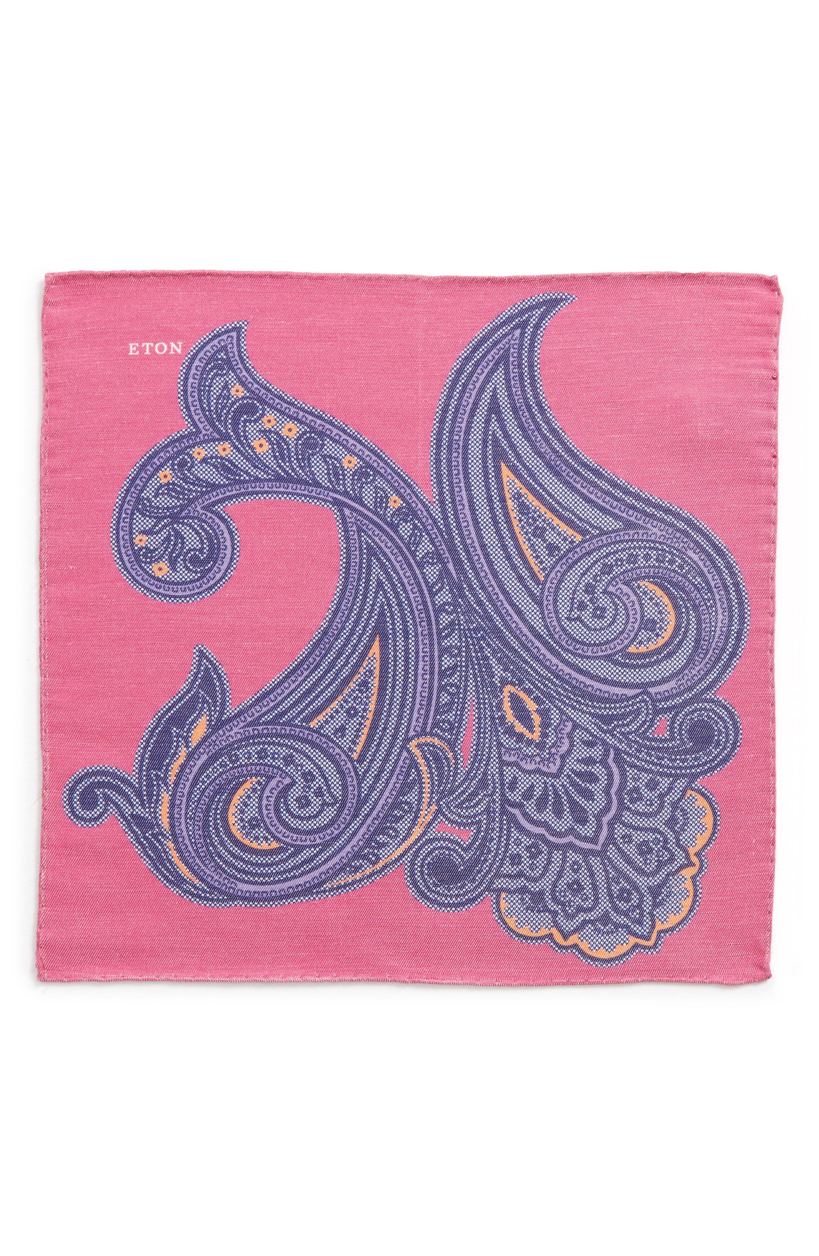 Paisley Linen & Silk Pocket Square,                             Alternate thumbnail 2, color,                             Pink