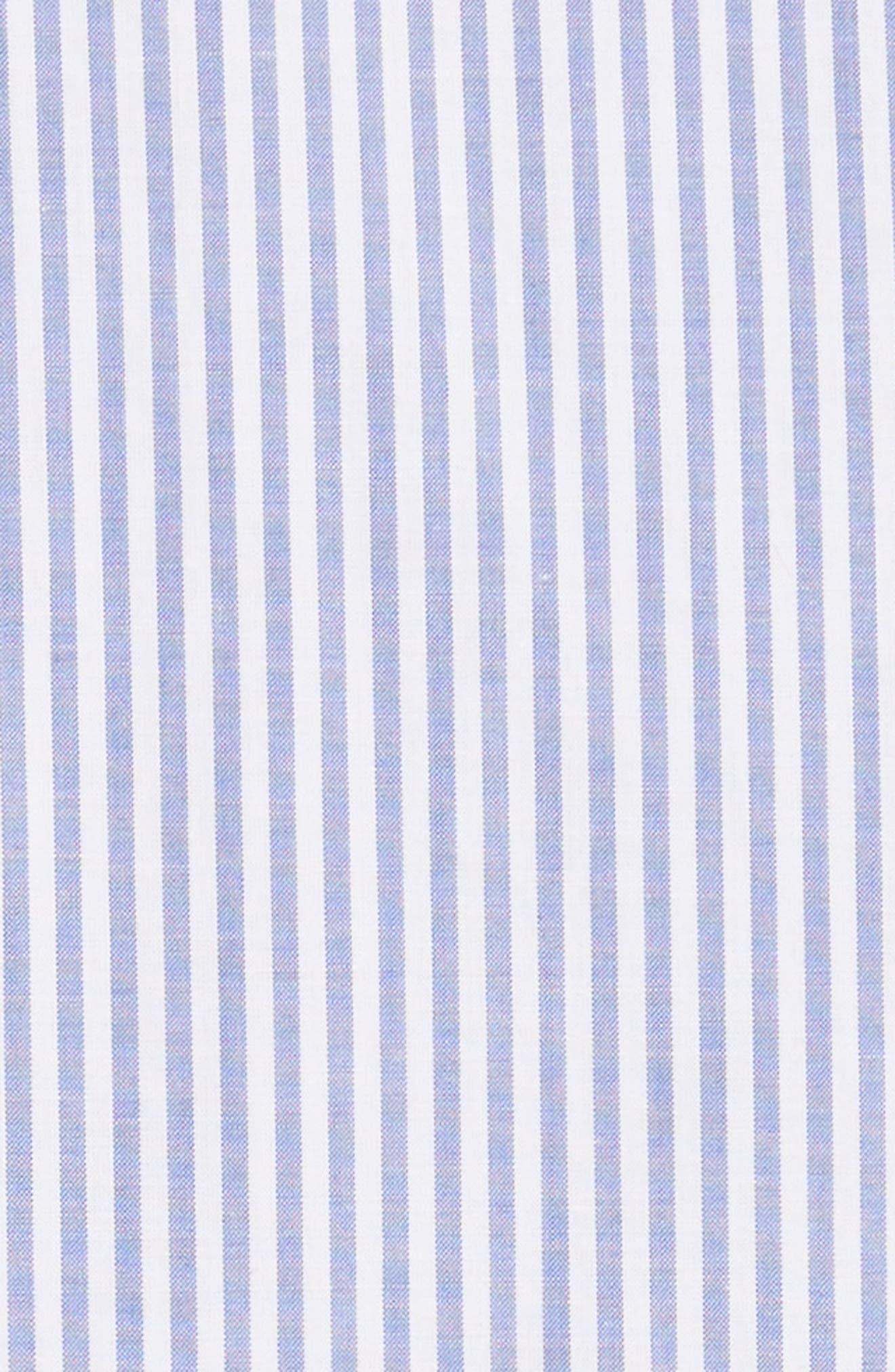 ruffled stripe poplin shirtdress,                             Alternate thumbnail 5, color,                             Fresh White/ Rich Lapis