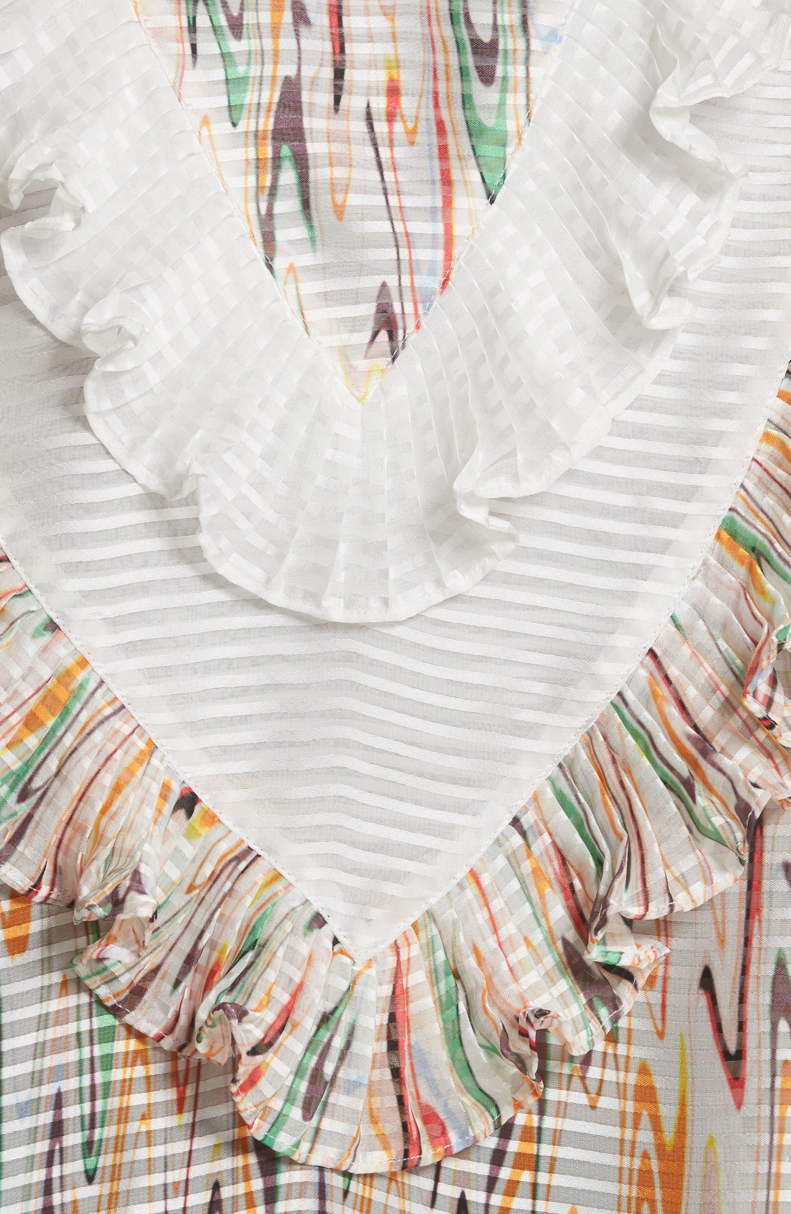 Marble Print Ruffle Blouse,                             Alternate thumbnail 5, color,                             White Multi