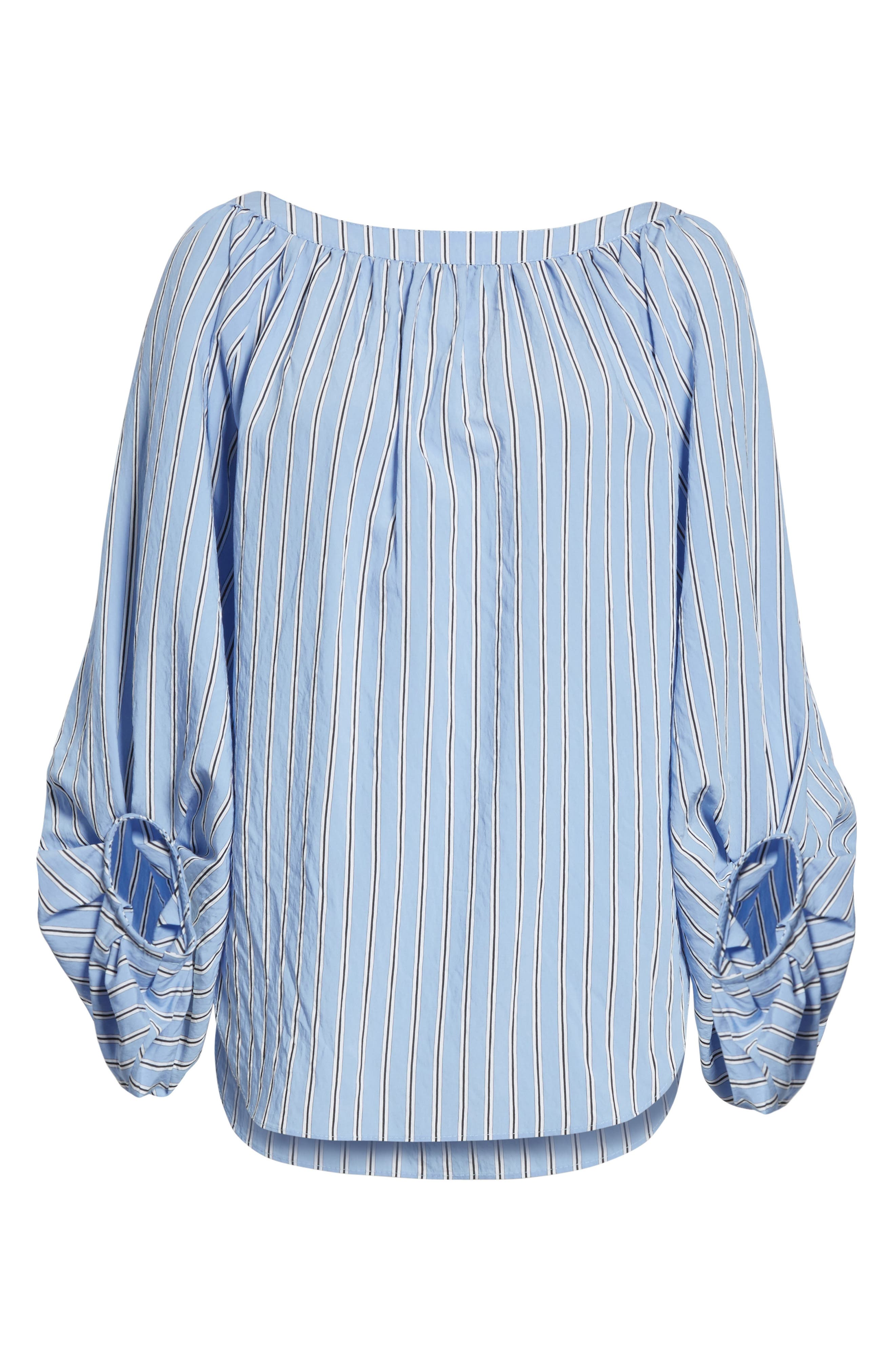 Stripe Balloon Sleeve Blouse,                             Alternate thumbnail 6, color,                             Shirting Stripe