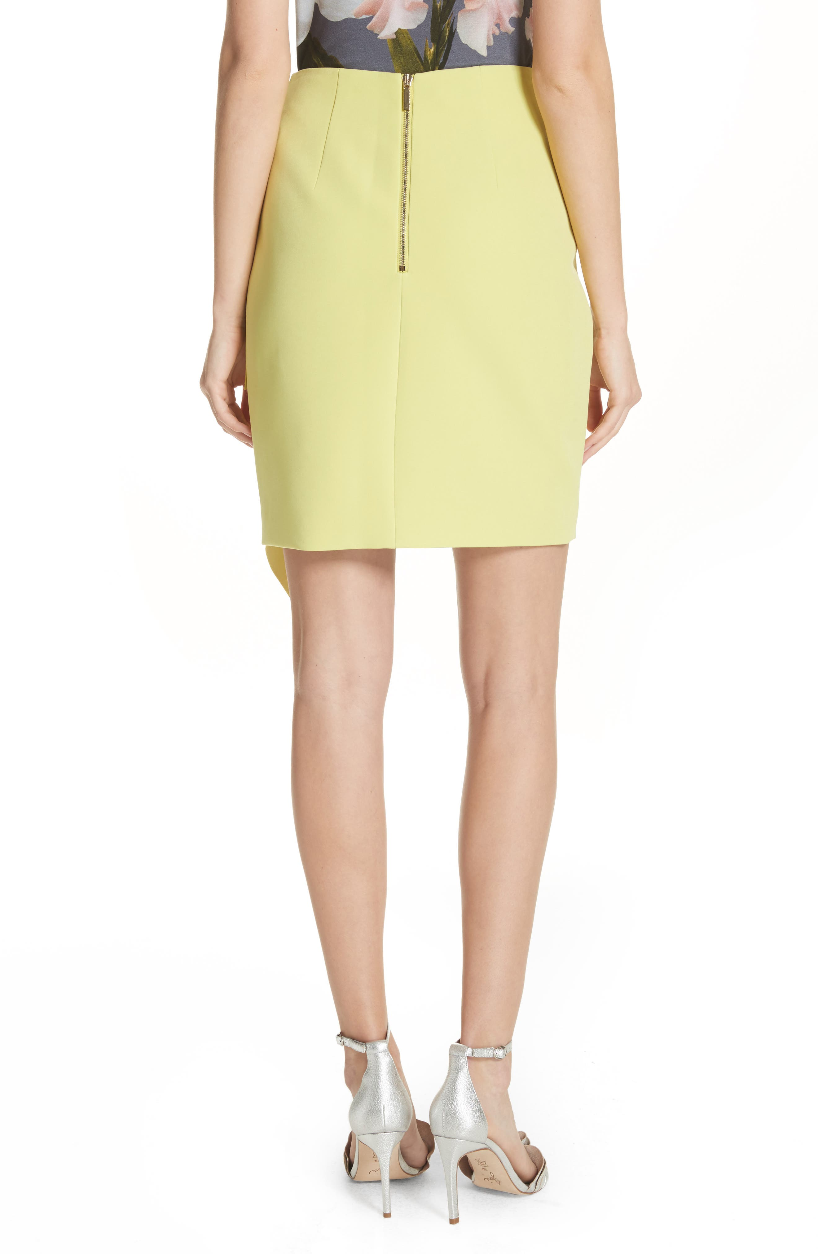 Asymmetrical Frill Pencil Skirt,                             Alternate thumbnail 3, color,                             Lime