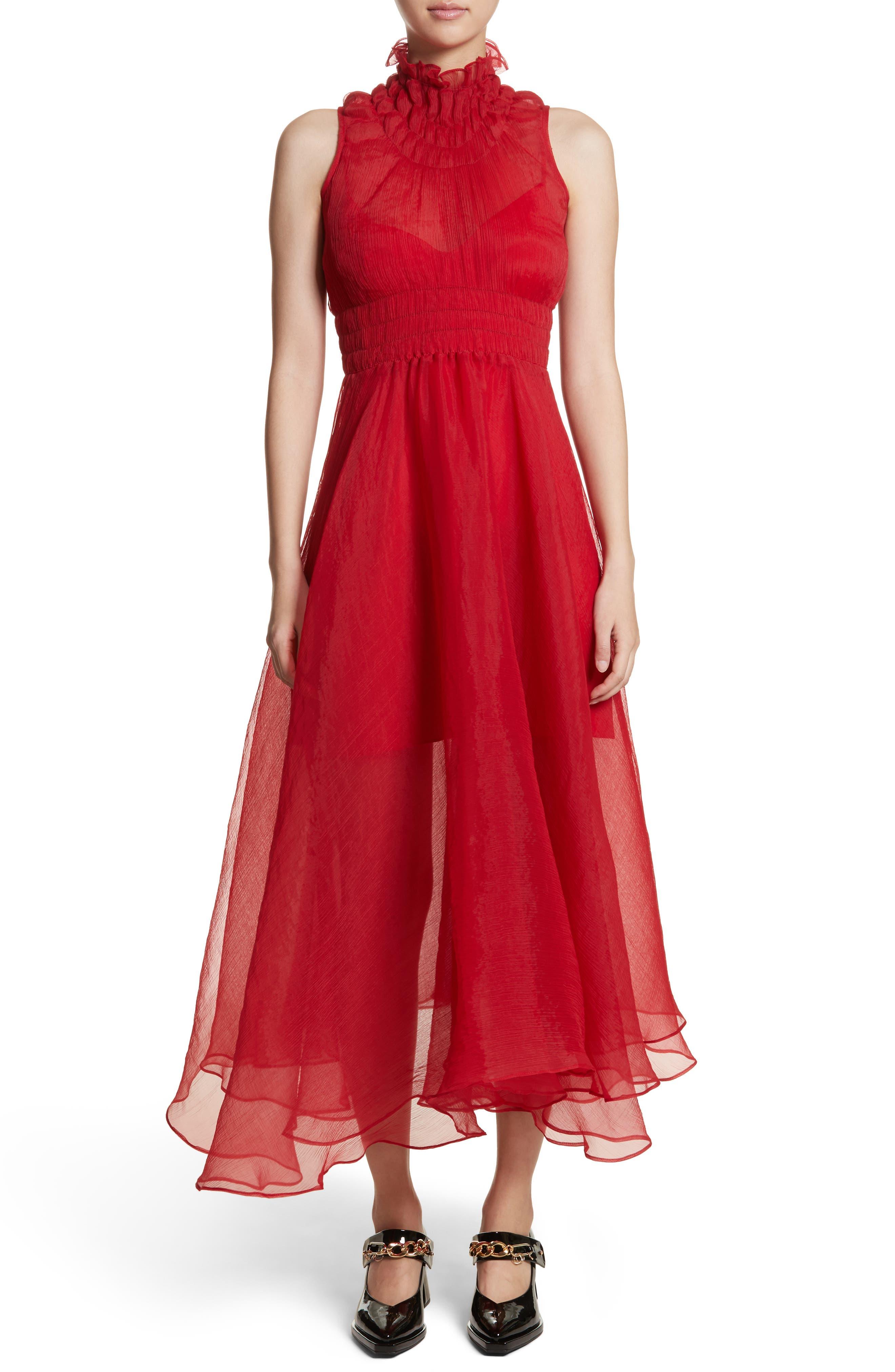 Venus Chiffon Dress,                         Main,                         color, Red