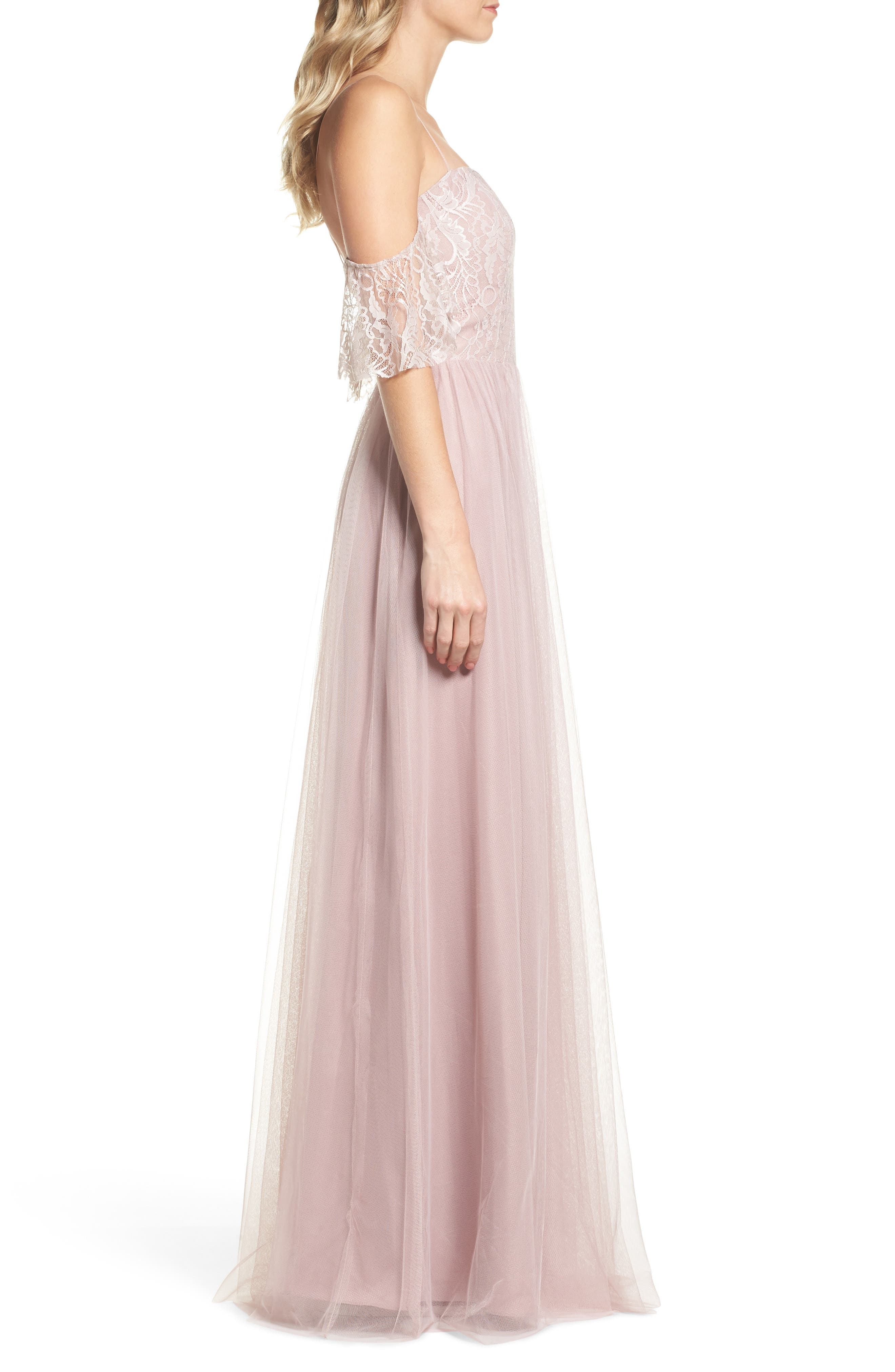 Cold Shoulder Lace Gown,                             Alternate thumbnail 3, color,                             Dusty Rose